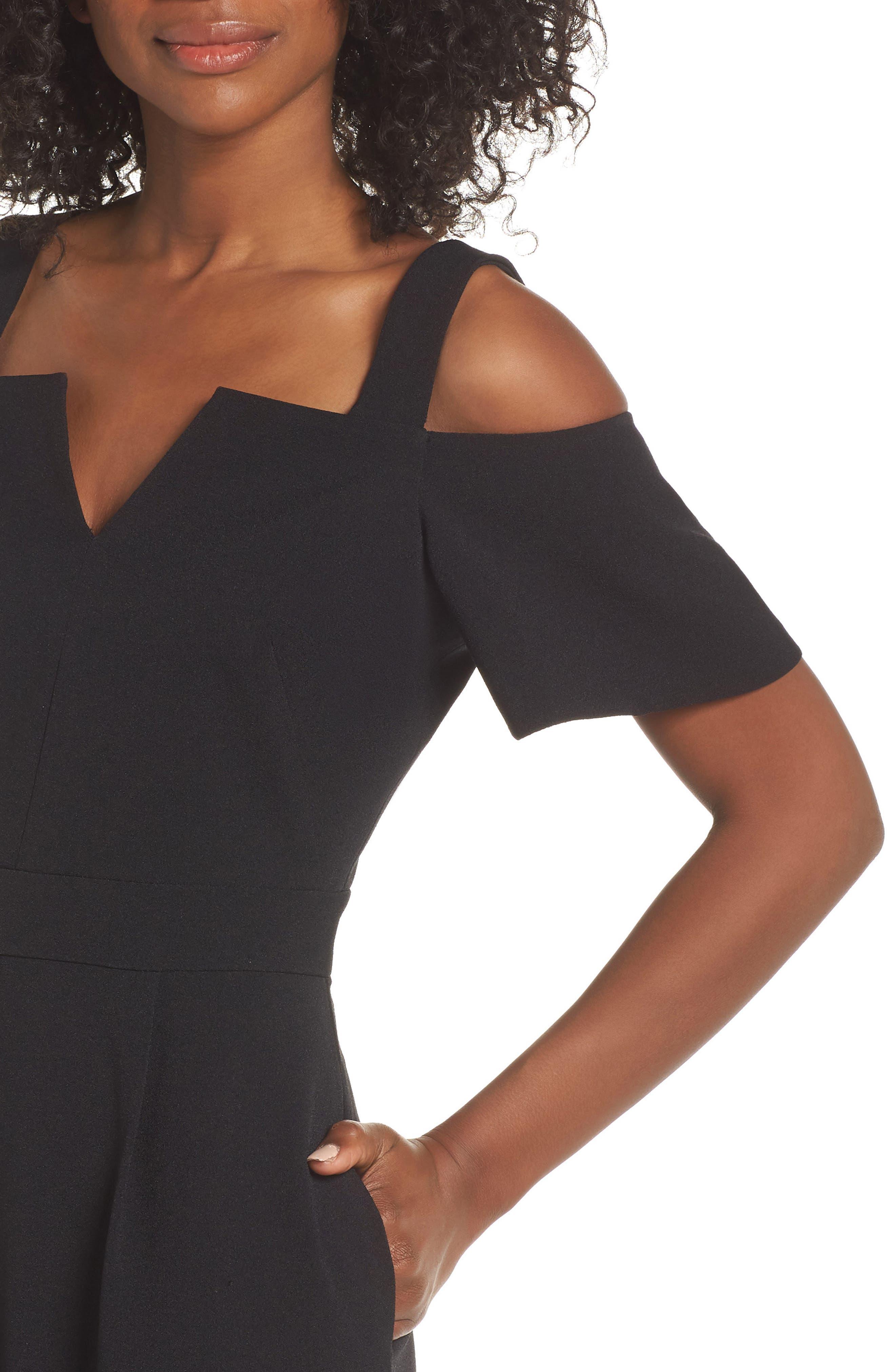 Cold Shoulder V-Neck Jumpsuit,                             Alternate thumbnail 4, color,                             BLACK