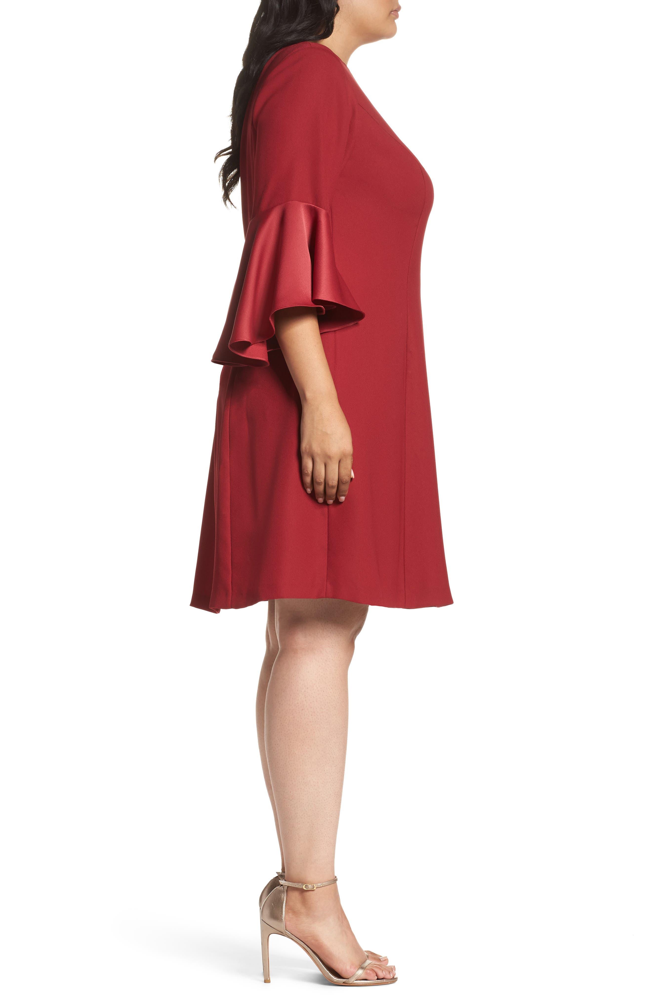 Bell Sleeve A-Line Dress,                             Alternate thumbnail 6, color,