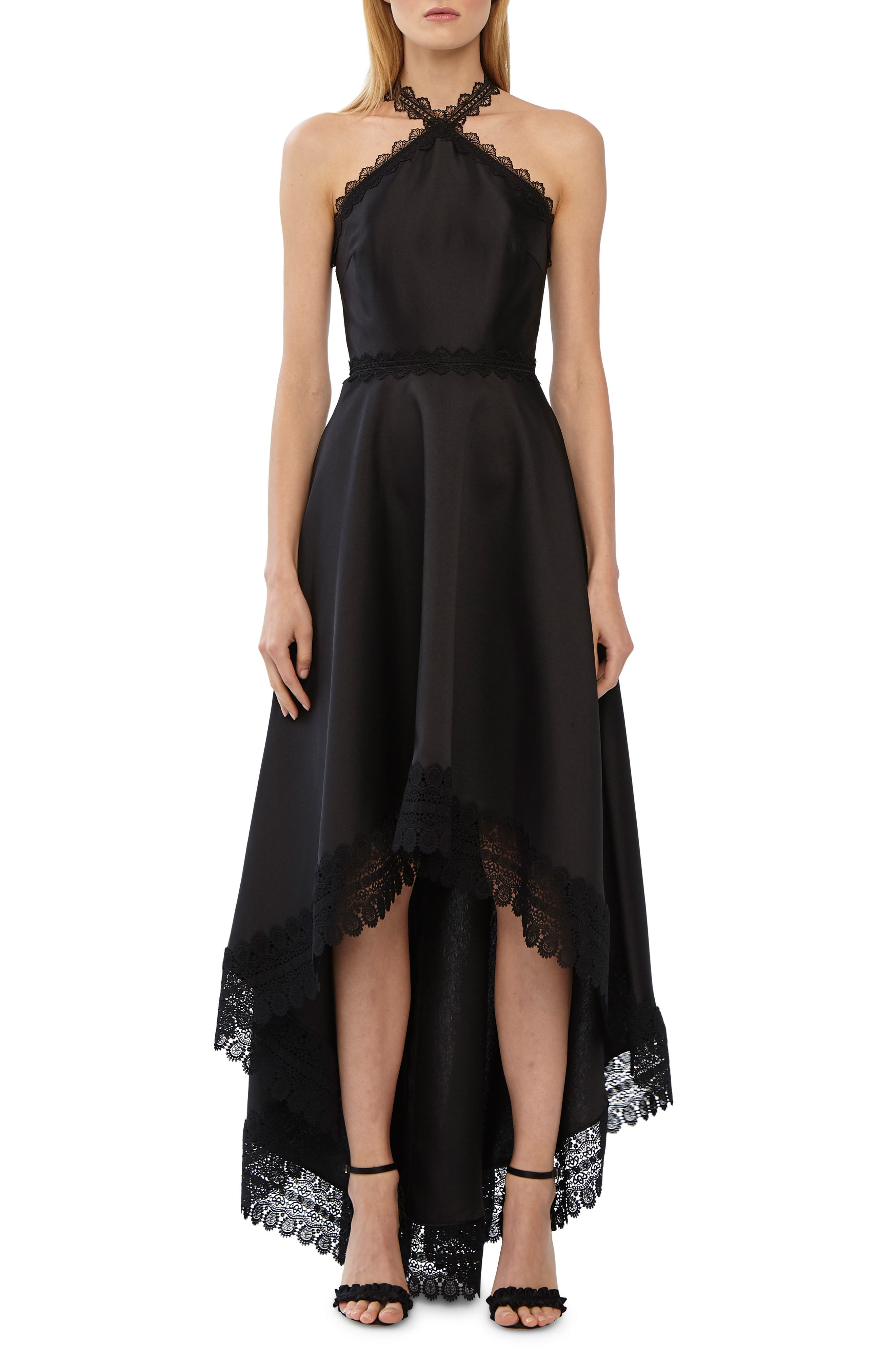 Ml Monique Lhuillier High/low Mikado Gown, Black