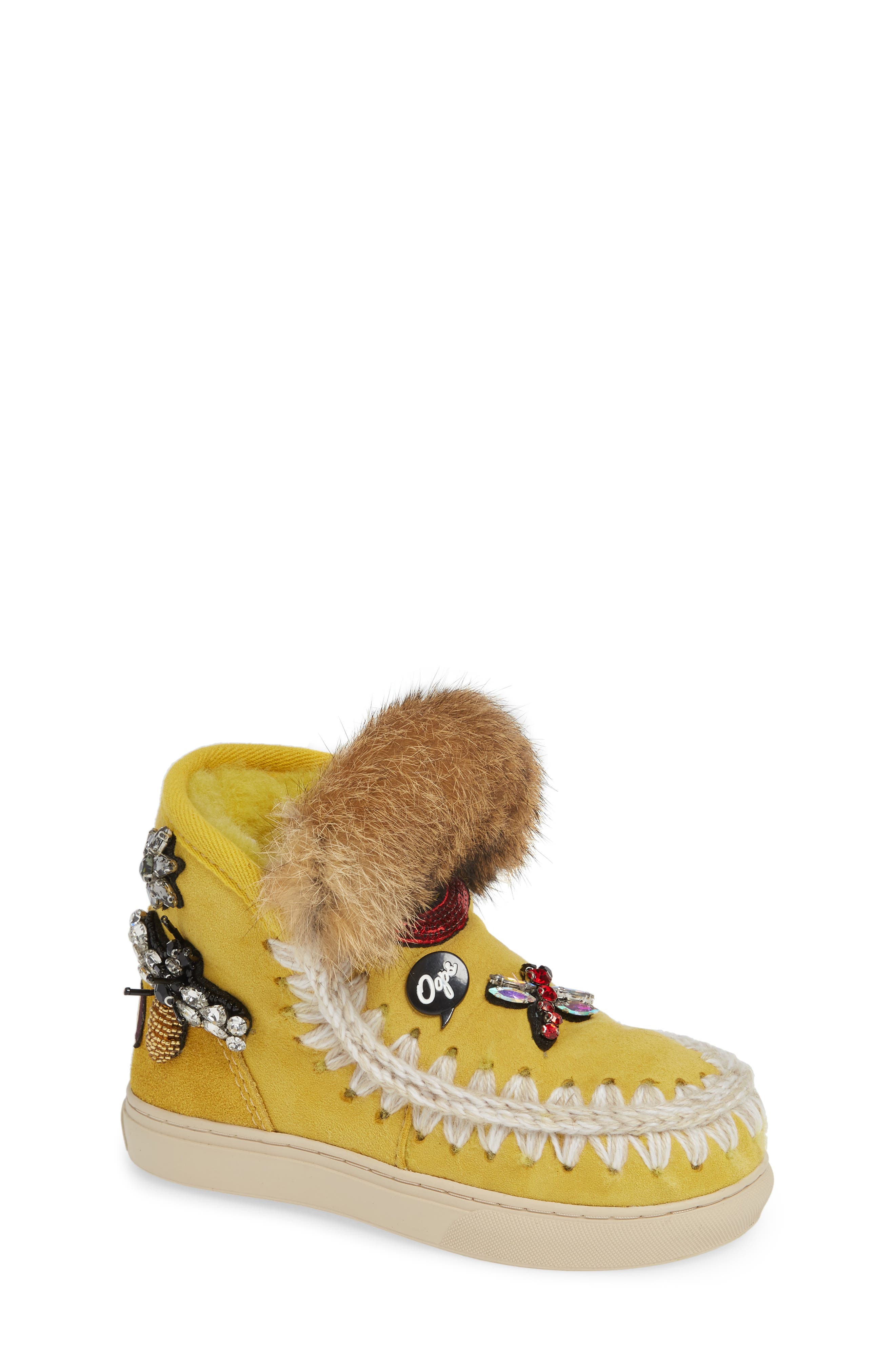 Embellished Genuine Shearling Sneaker Boot,                             Main thumbnail 1, color,                             OLIVE YELLOW