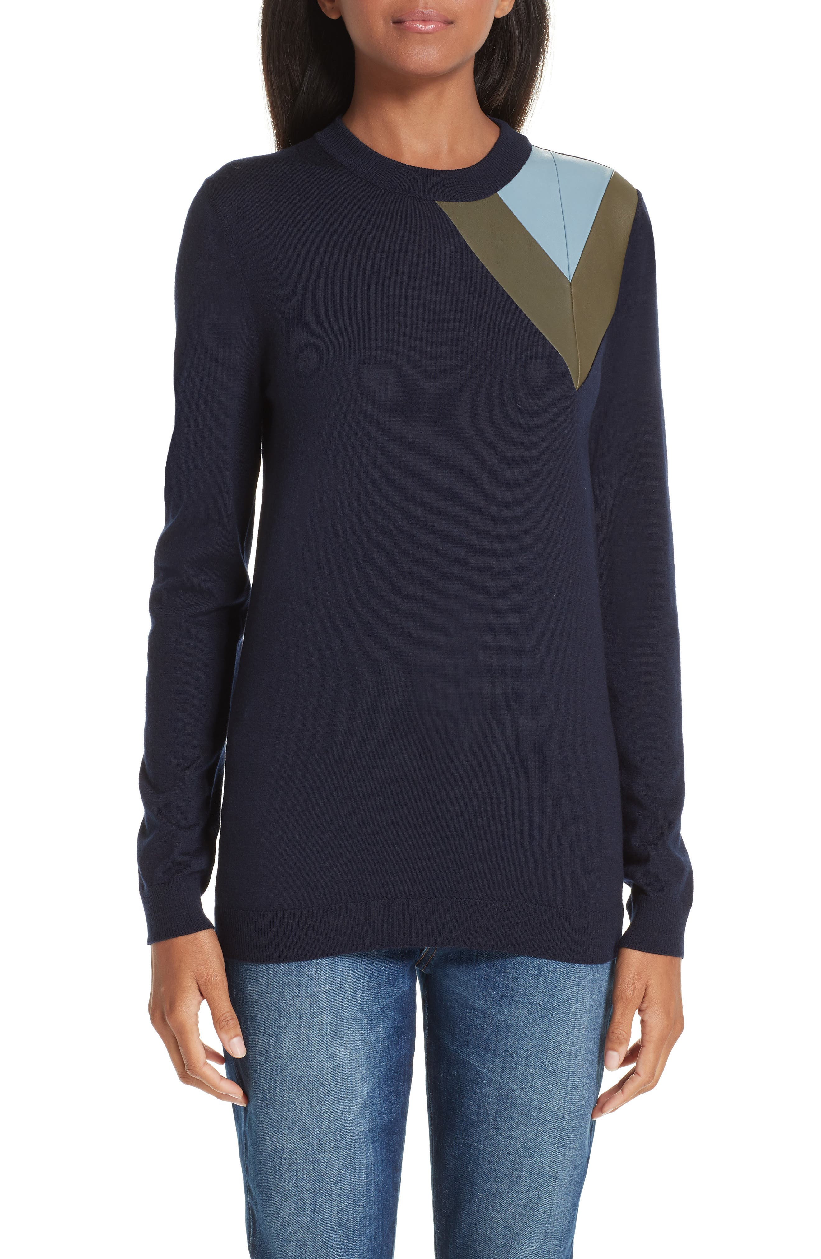 Leather Chevron Shoulder Wool Sweater,                         Main,                         color, NAVY BLUE