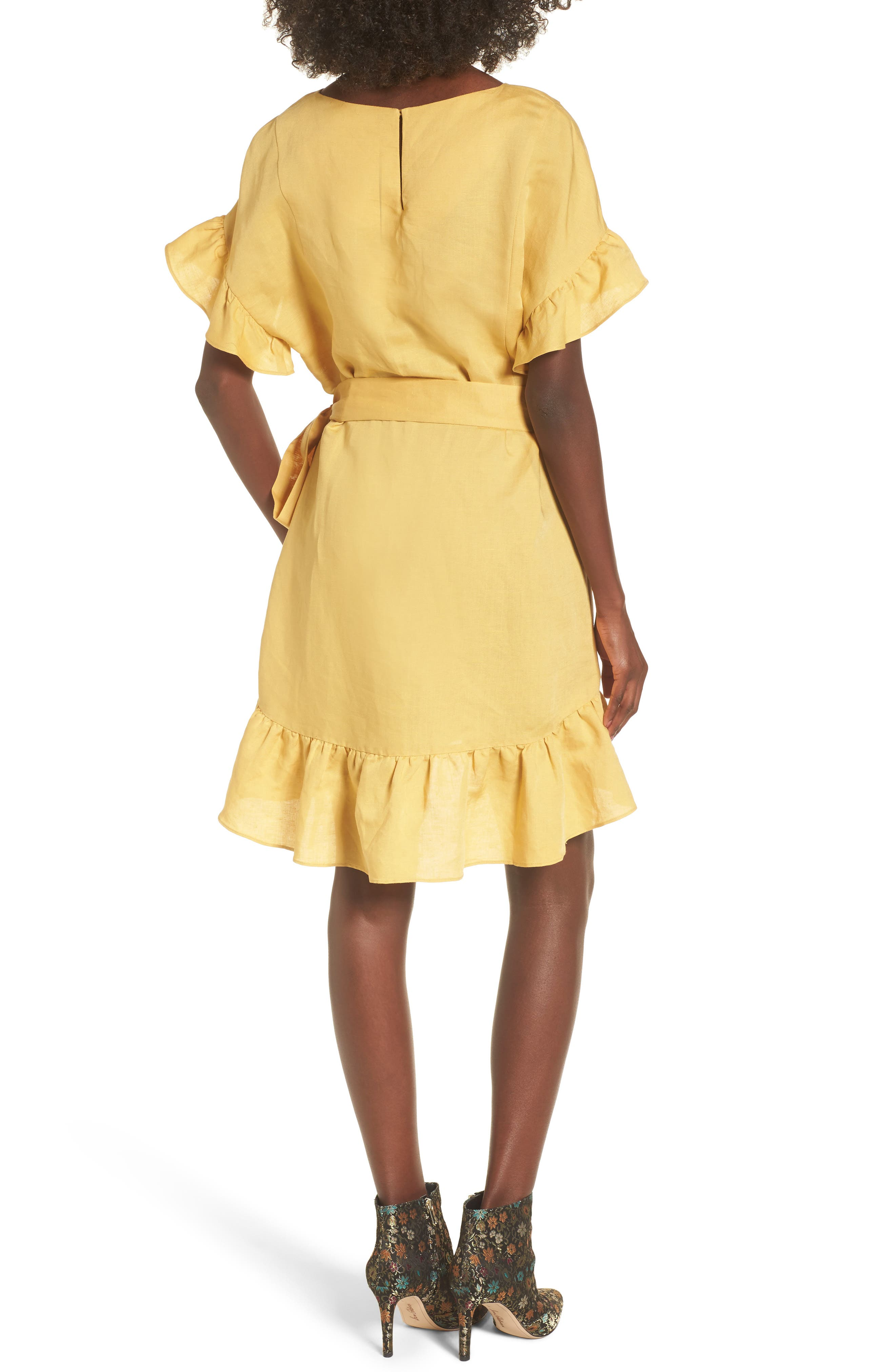 Ruffle Linen Blend Wrap Dress,                             Alternate thumbnail 2, color,                             700