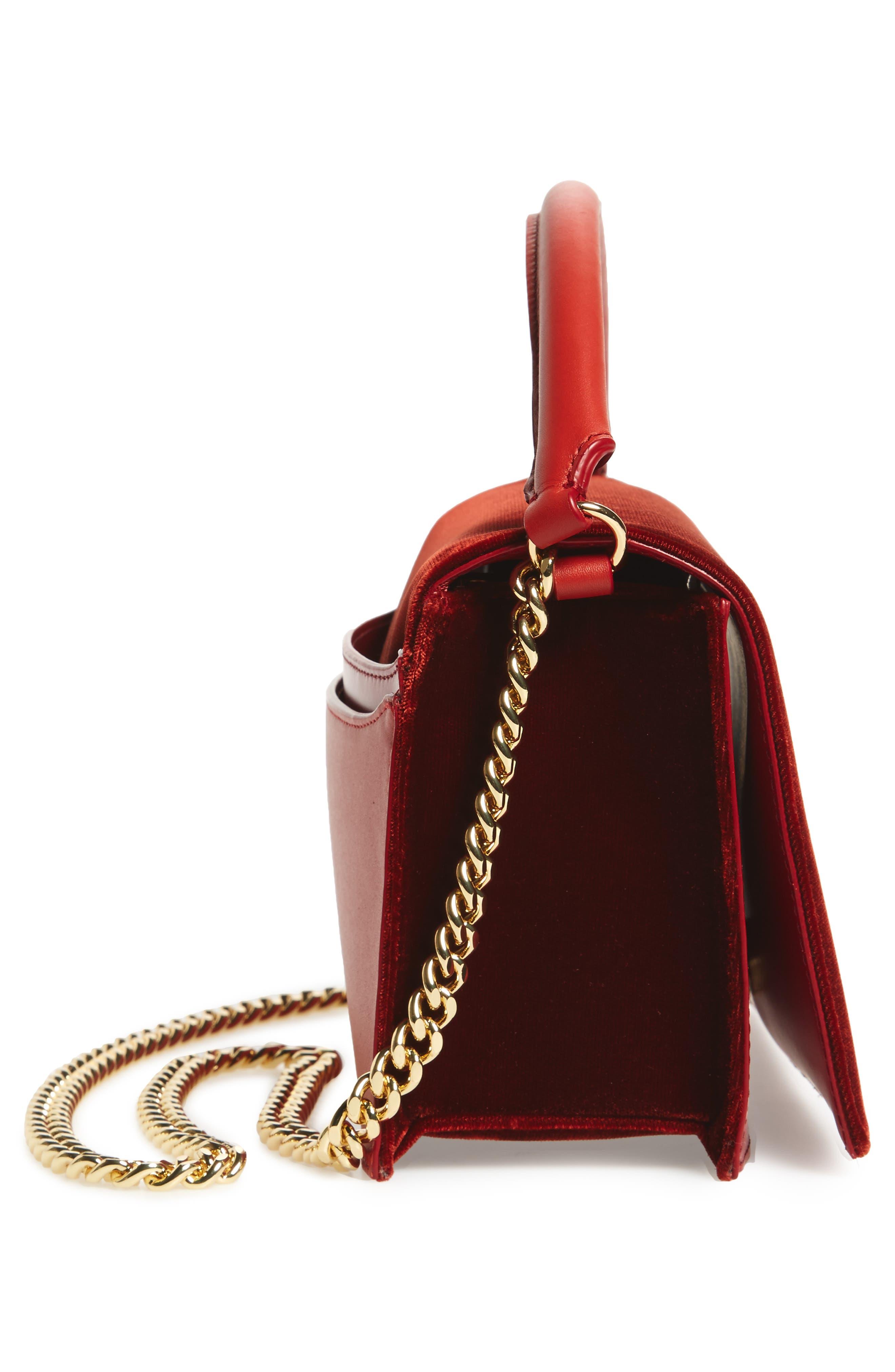 Soirée Velvet Top Handle Bag,                             Alternate thumbnail 5, color,