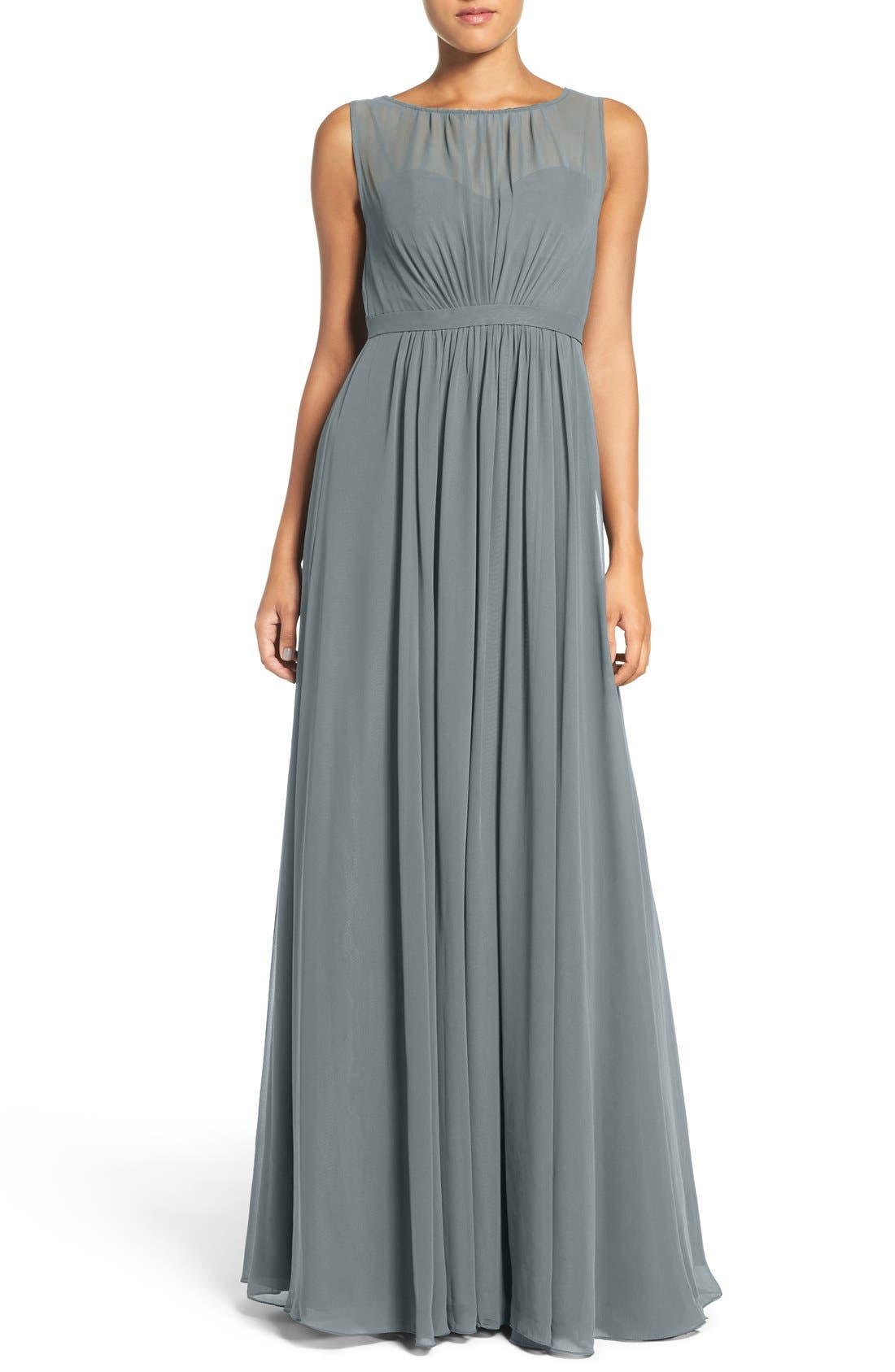 Vivienne Pleated Chiffon Gown,                             Main thumbnail 9, color,