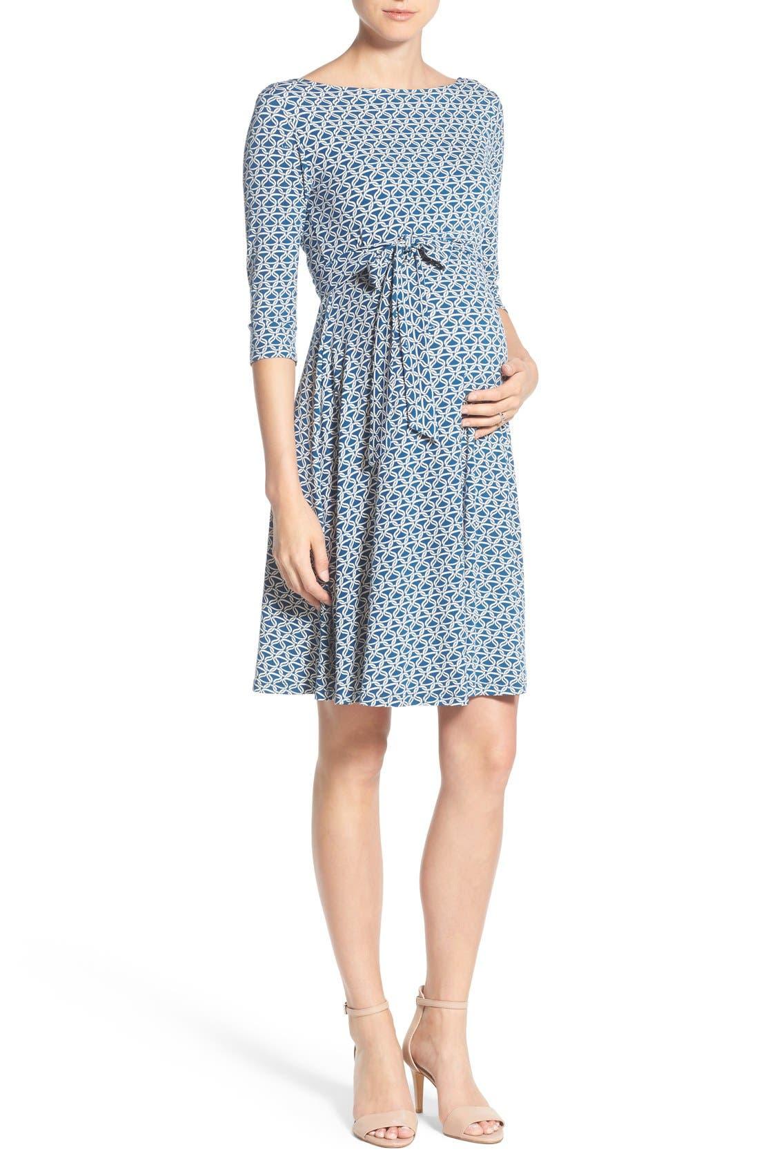 'Ilana' Belted Maternity Dress,                             Main thumbnail 6, color,