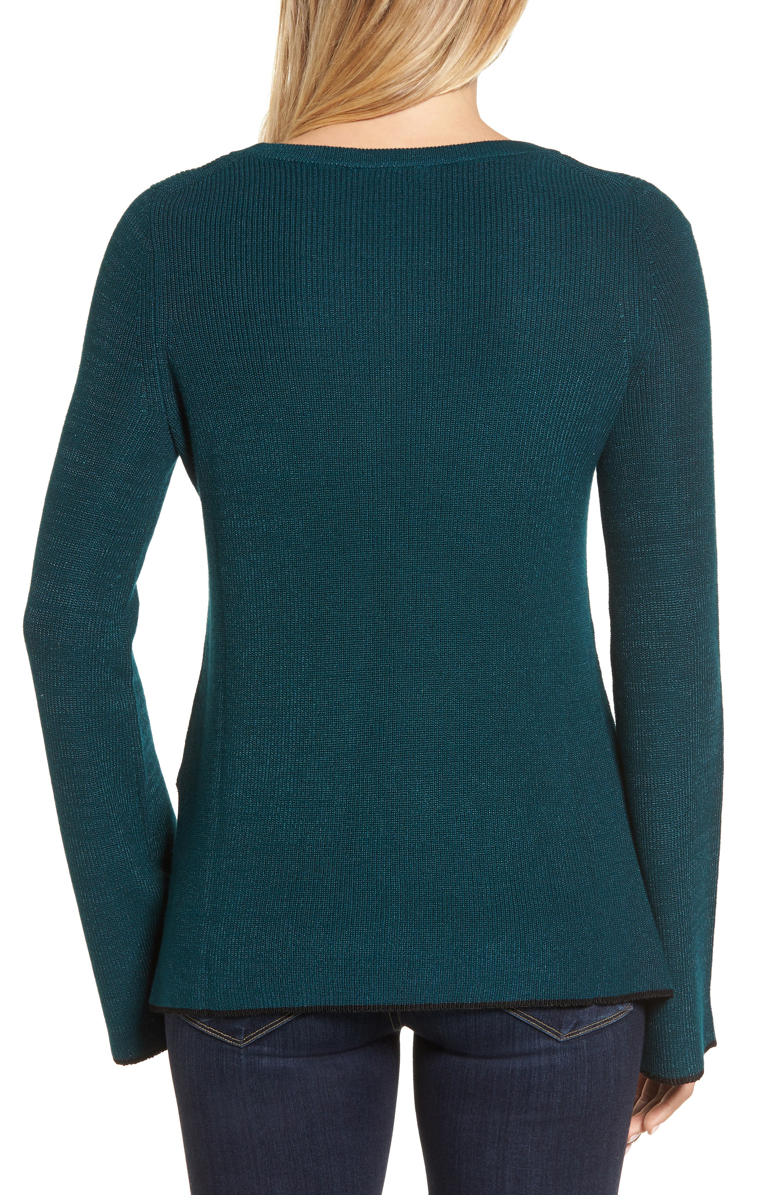 Tipped Bell Sleeve Sweater,                             Alternate thumbnail 12, color,