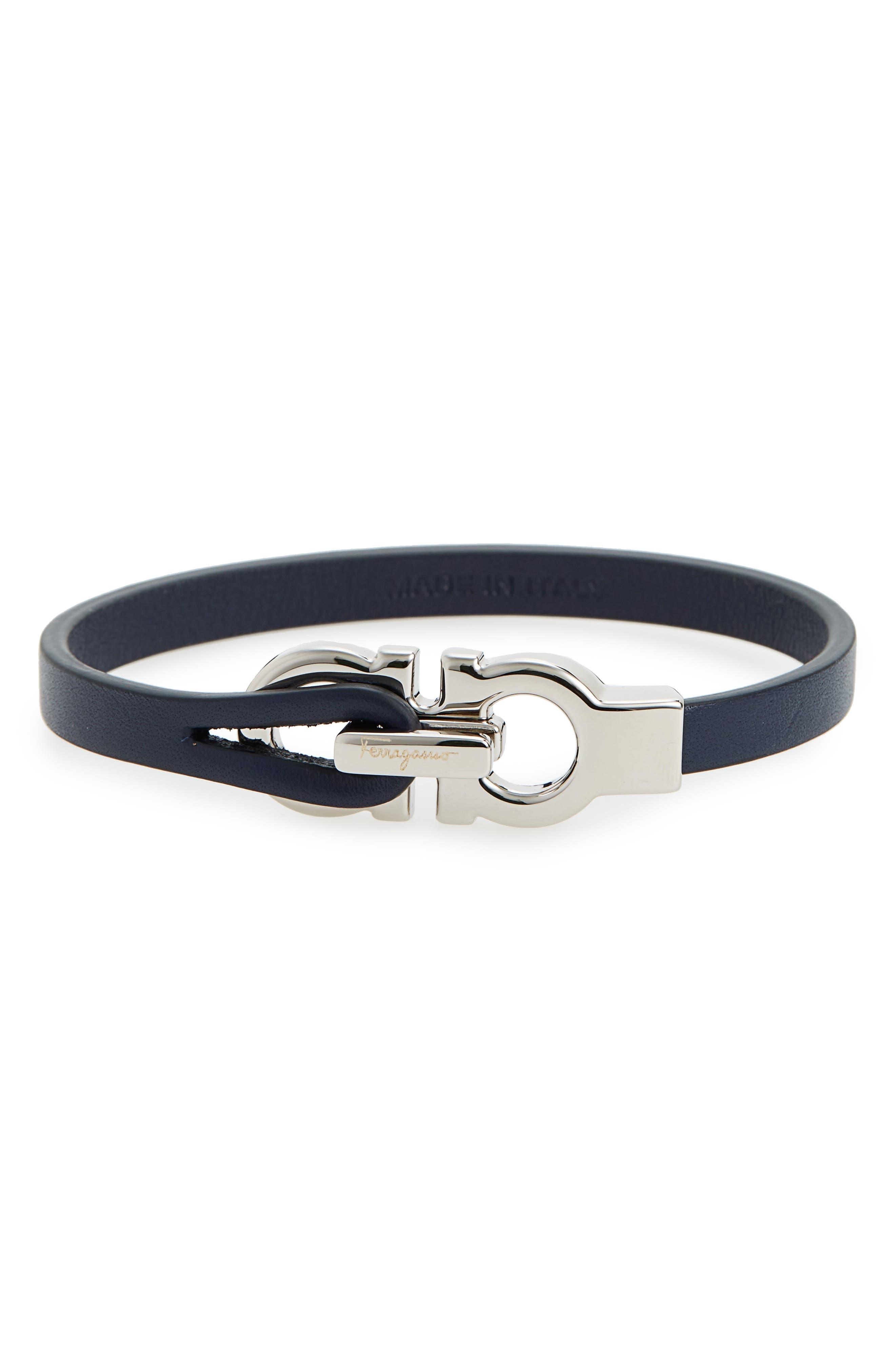 Double Gancini Leather Bracelet,                             Main thumbnail 2, color,