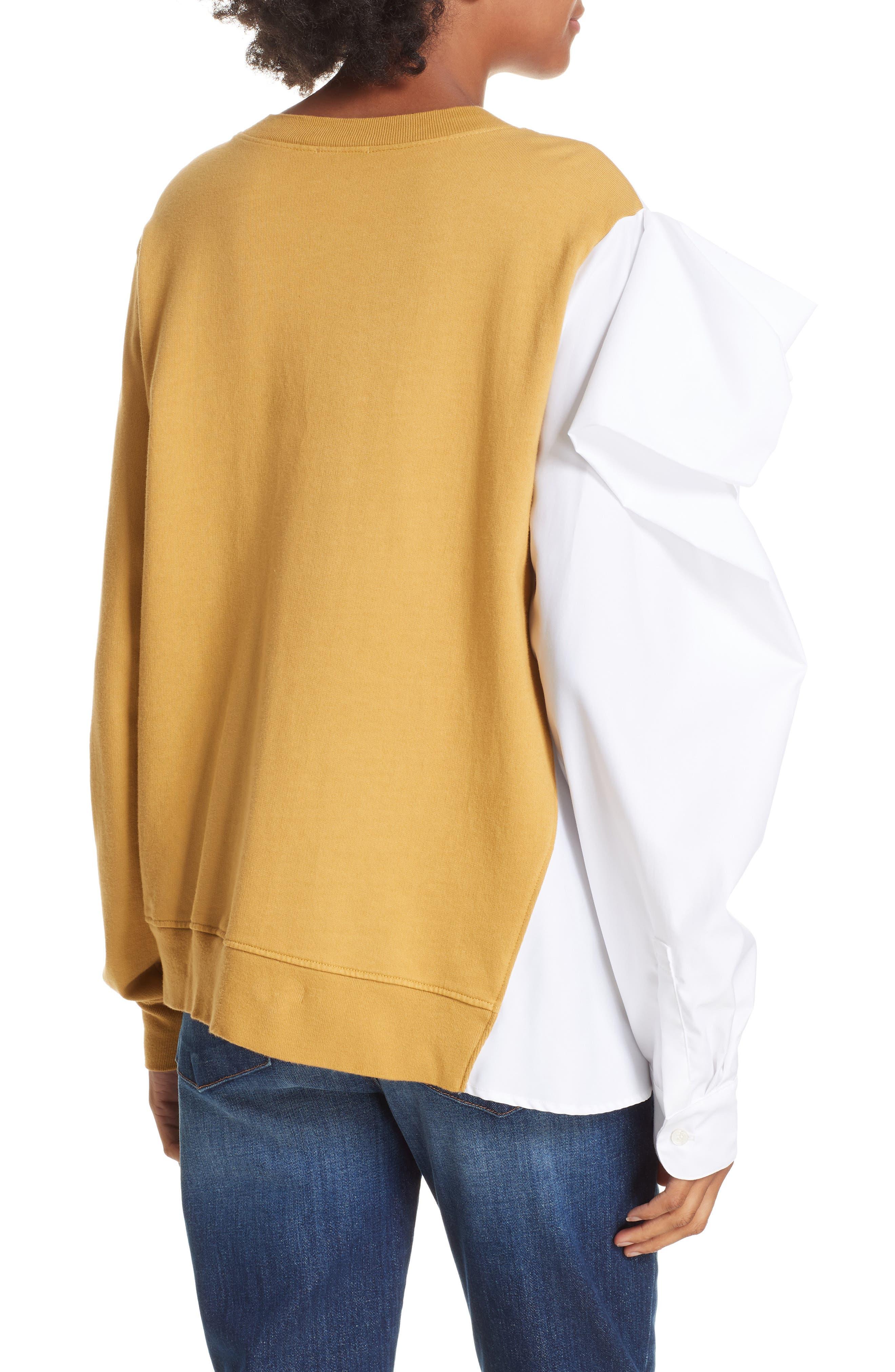 Bow Colorblock Sweatshirt,                             Alternate thumbnail 2, color,                             MUSTARD/ WHITE