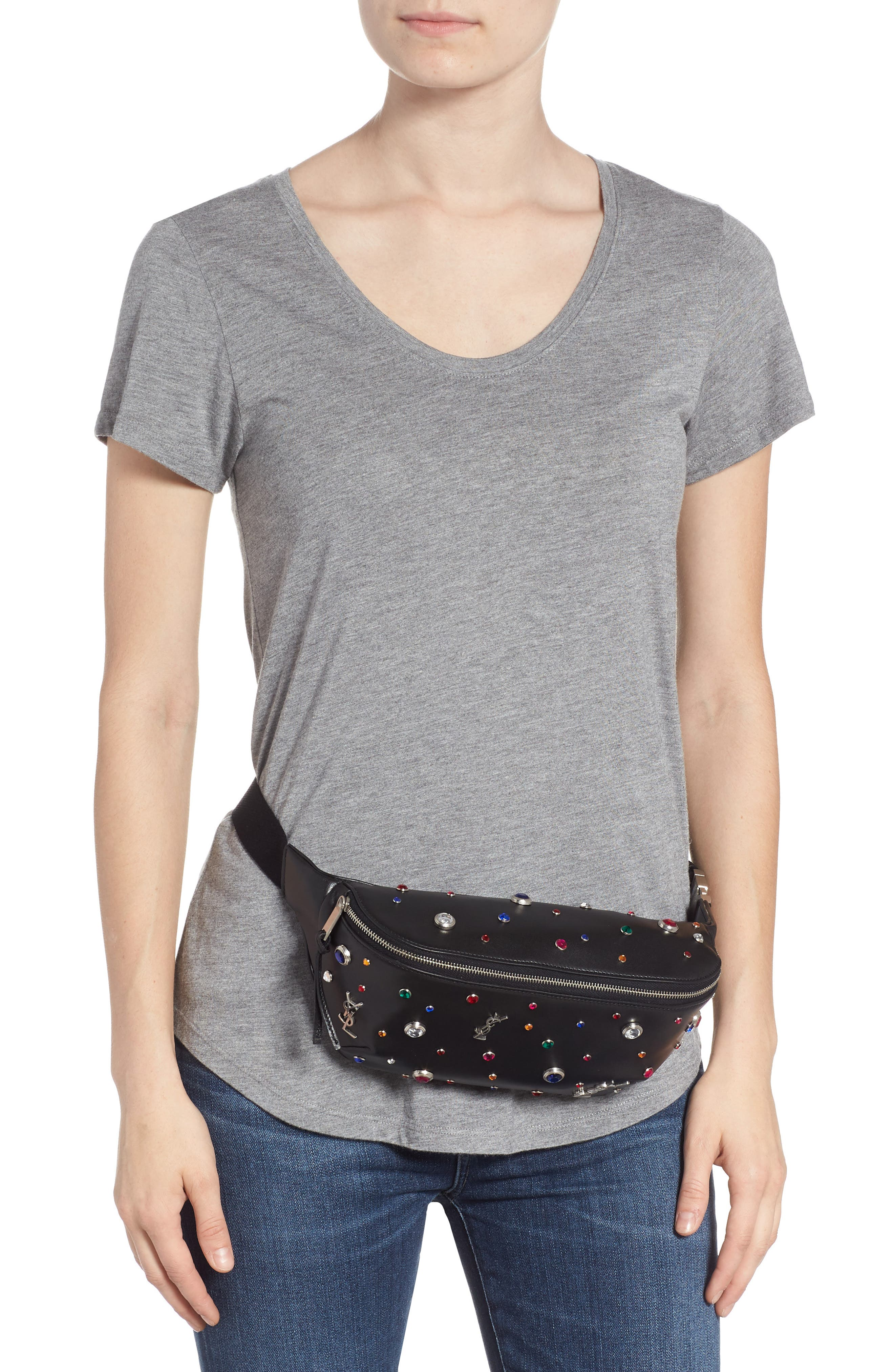 Monogram Studded Leather Belt Bag,                             Alternate thumbnail 2, color,                             NOIR MULTI