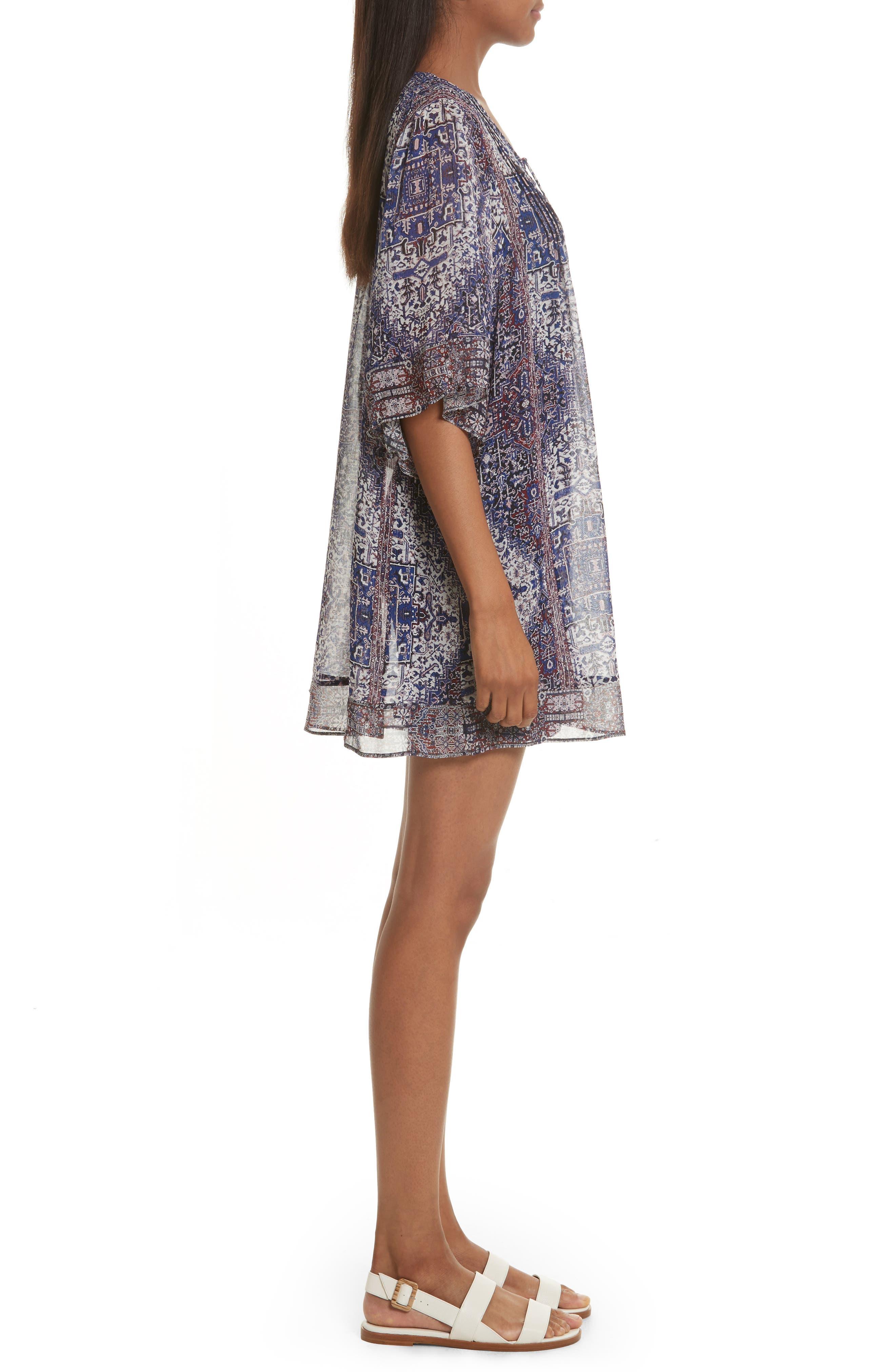 Hadiya Print Silk Dress,                             Alternate thumbnail 3, color,