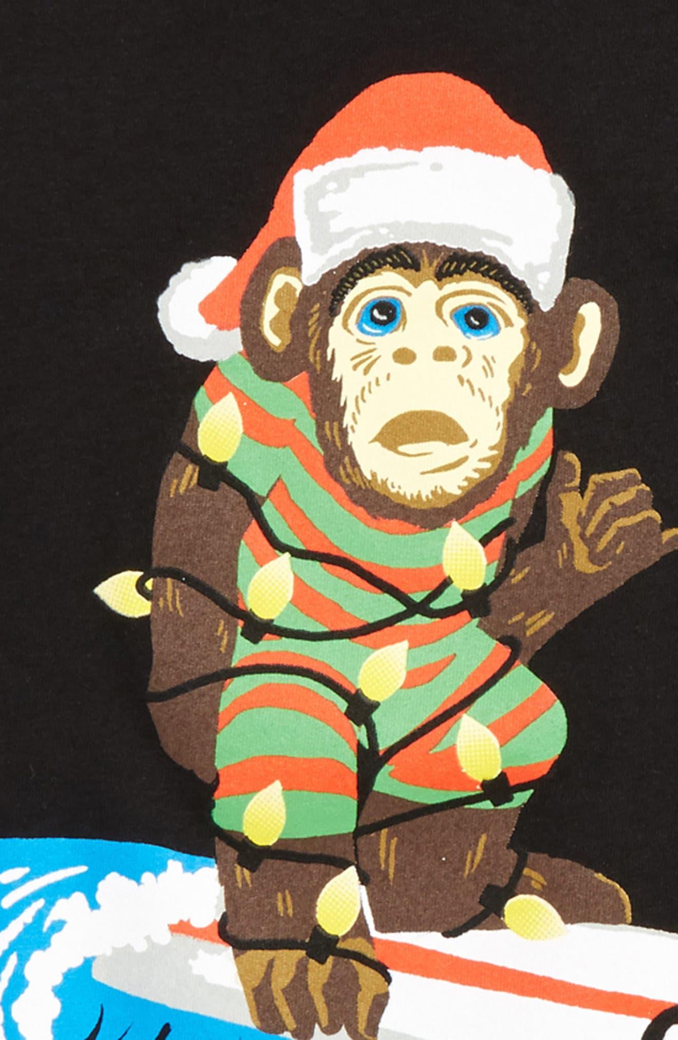 Santa Surf Monkey T-Shirt,                             Alternate thumbnail 2, color,                             002