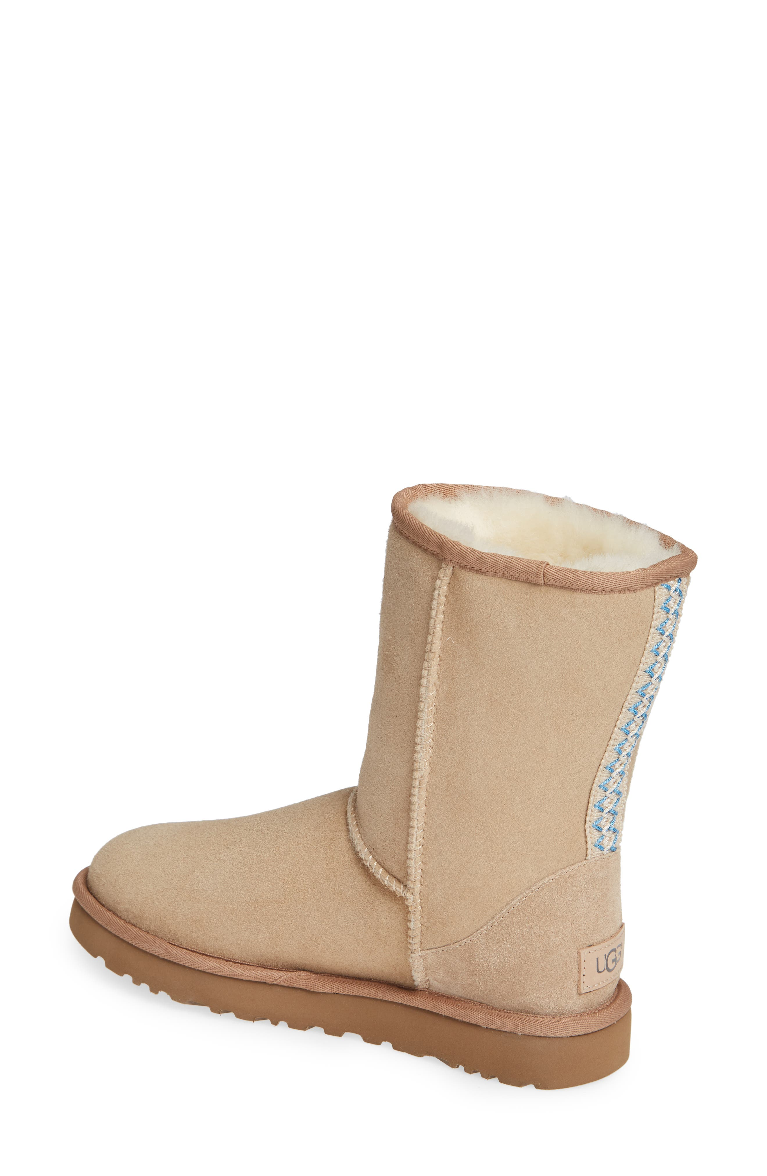 Classic Short 40:40:40 Genuine Shearling Boot,                             Alternate thumbnail 2, color,                             SAND SUEDE