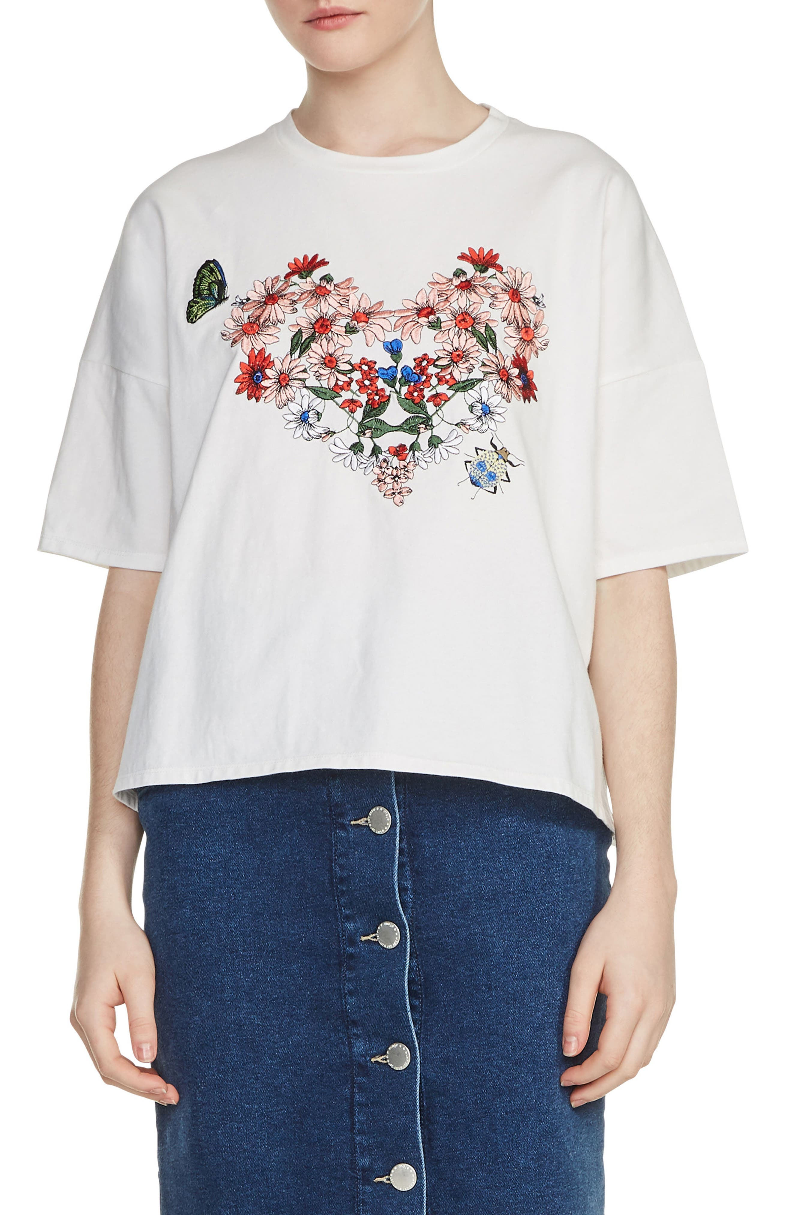 Embroidered Tee,                         Main,                         color, 100