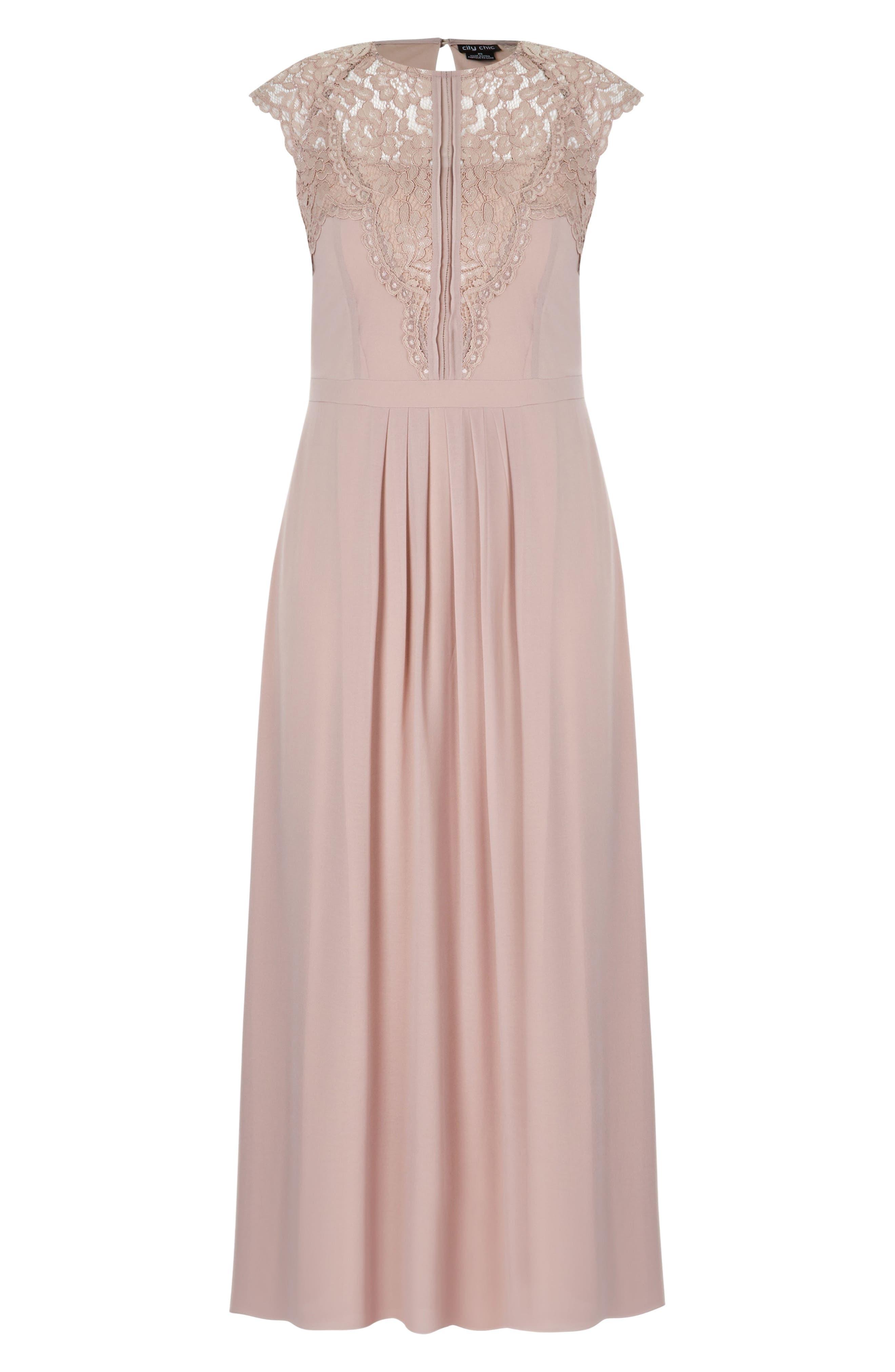 Lace Bodice Maxi Dress,                             Alternate thumbnail 2, color,                             MUSHROOM