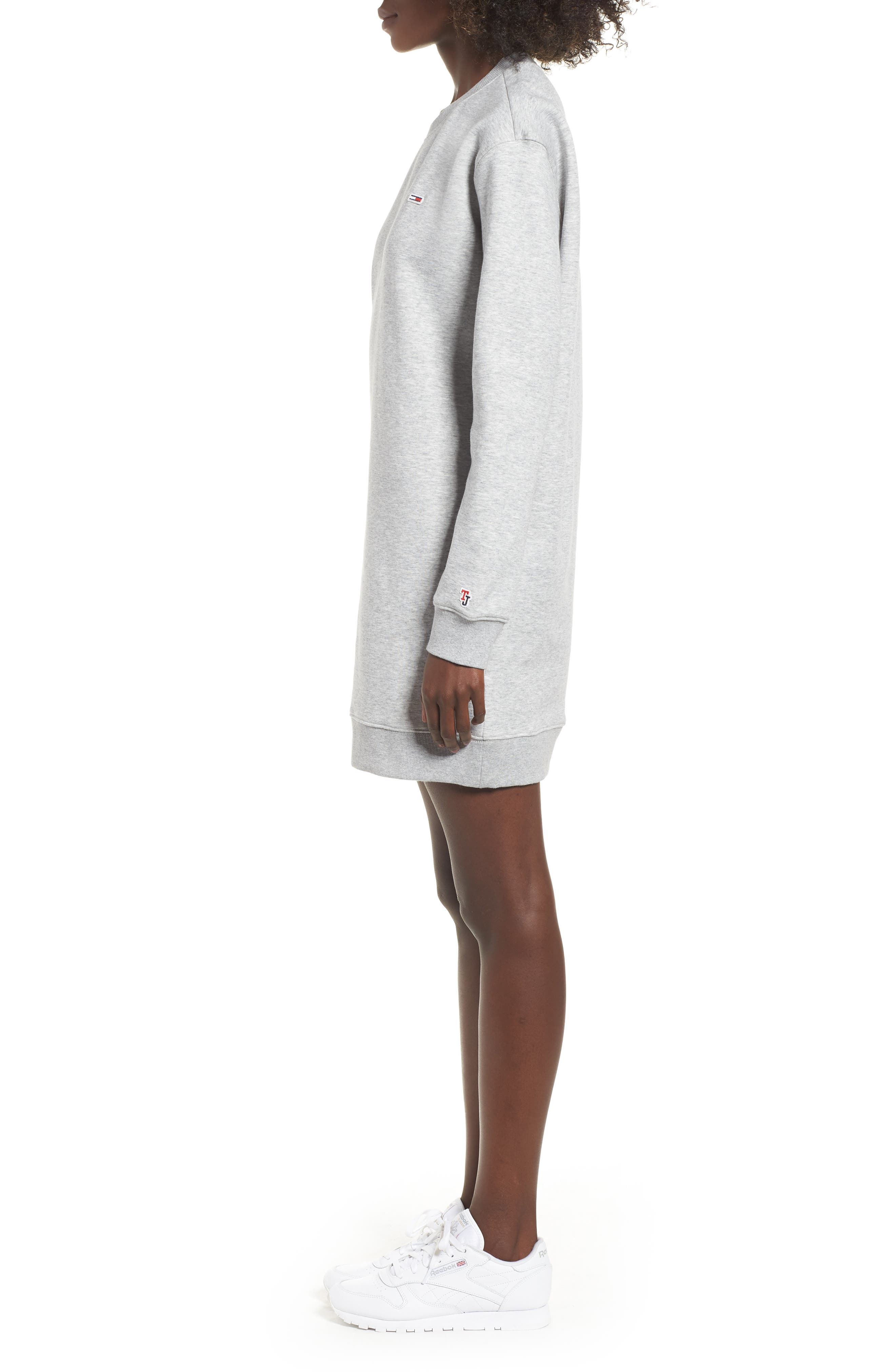 Classic Sweatshirt Dress,                             Alternate thumbnail 3, color,                             LT GREY HEATHER