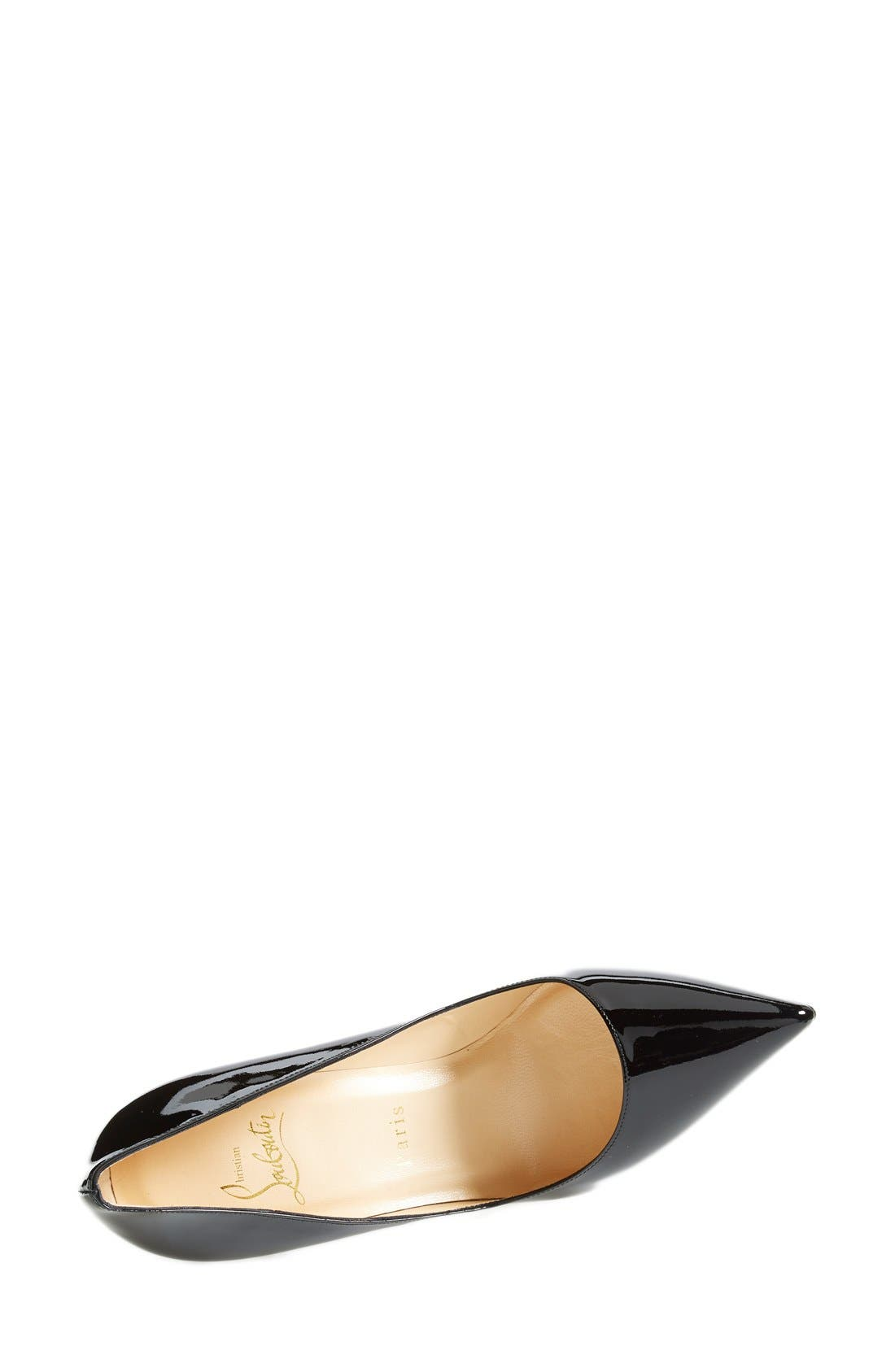 'Pigalle' Pointy Toe Pump,                             Alternate thumbnail 4, color,                             BLACK