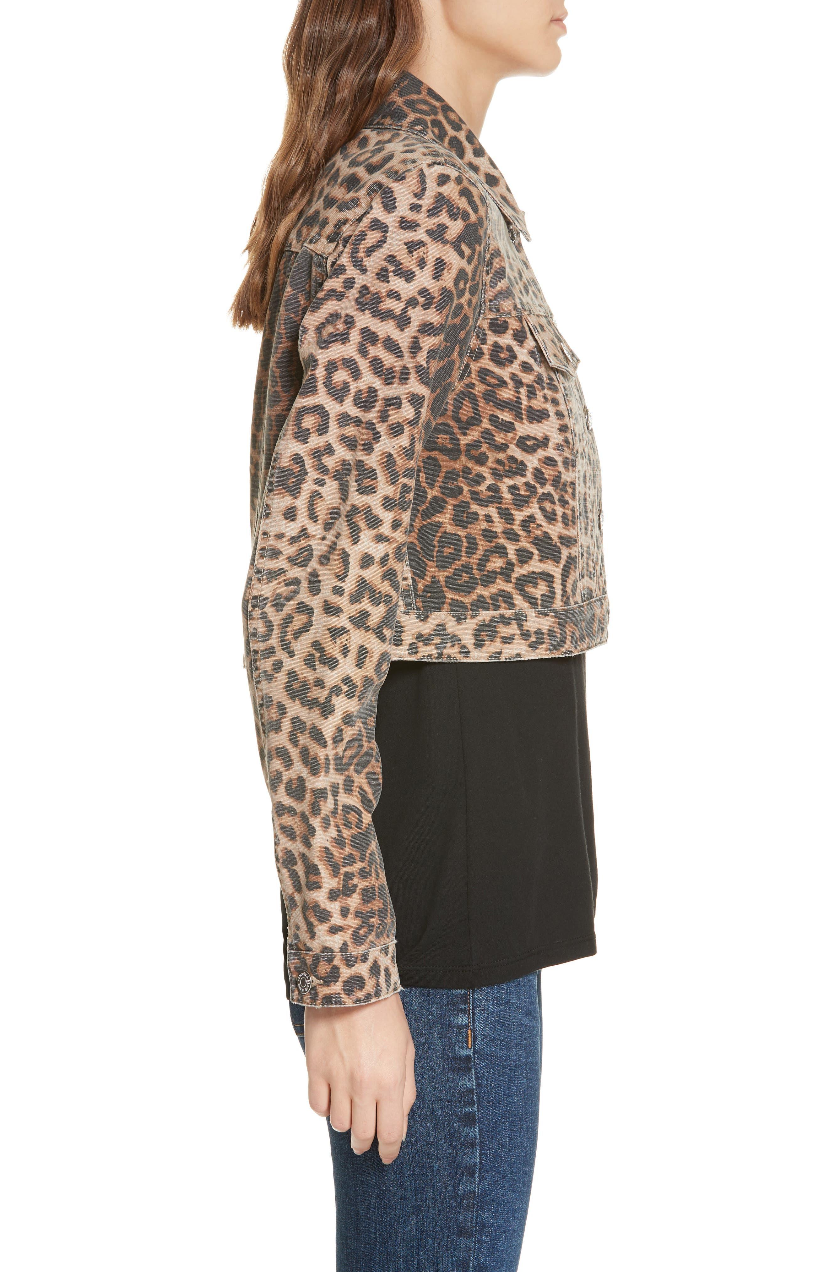 VERONICA BEARD,                             Cara Leopard Print Crop Denim Jacket,                             Alternate thumbnail 4, color,                             LEOPARD