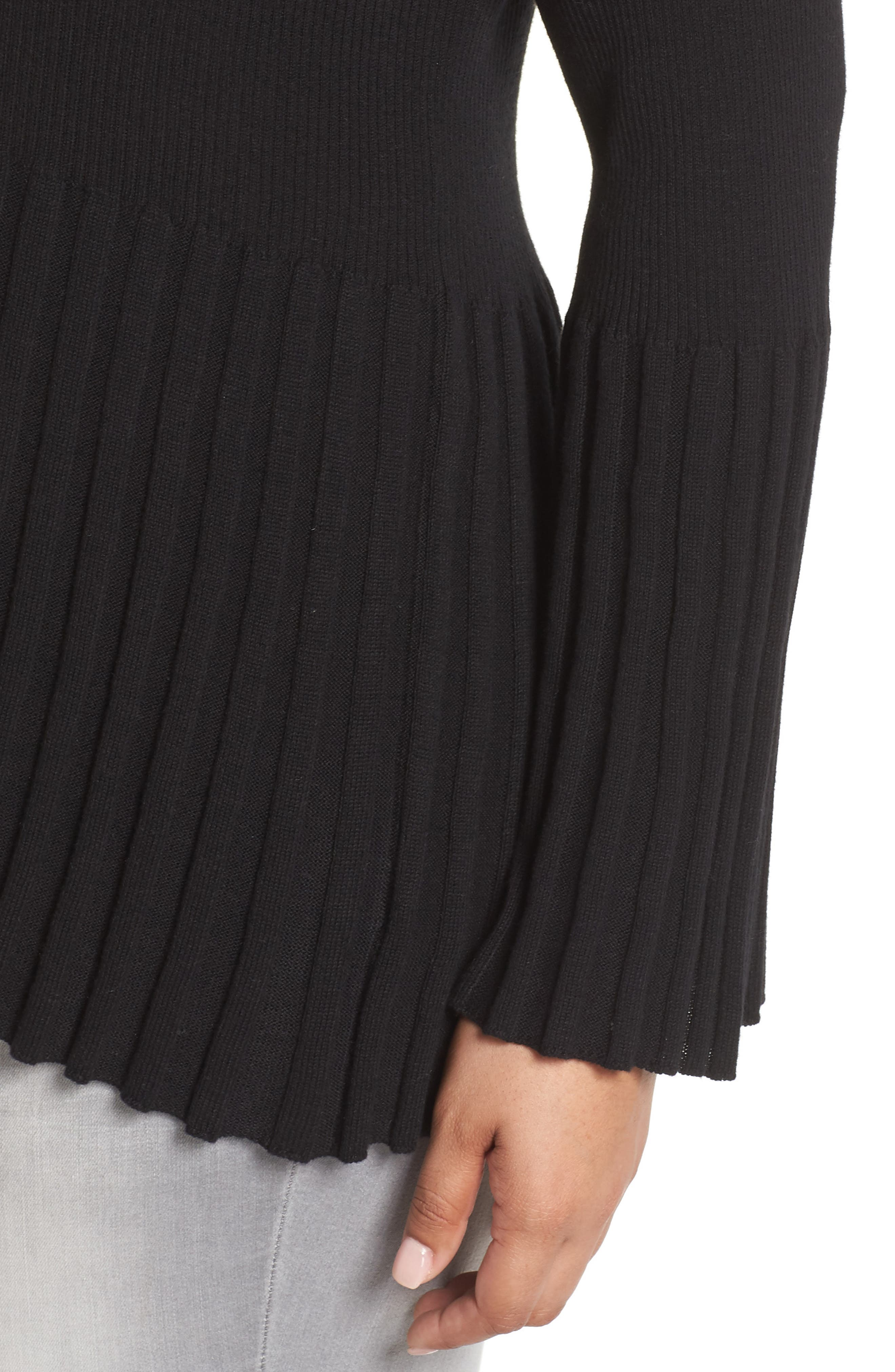 Ribbed Cotton Blend Sweater,                             Alternate thumbnail 4, color,                             001