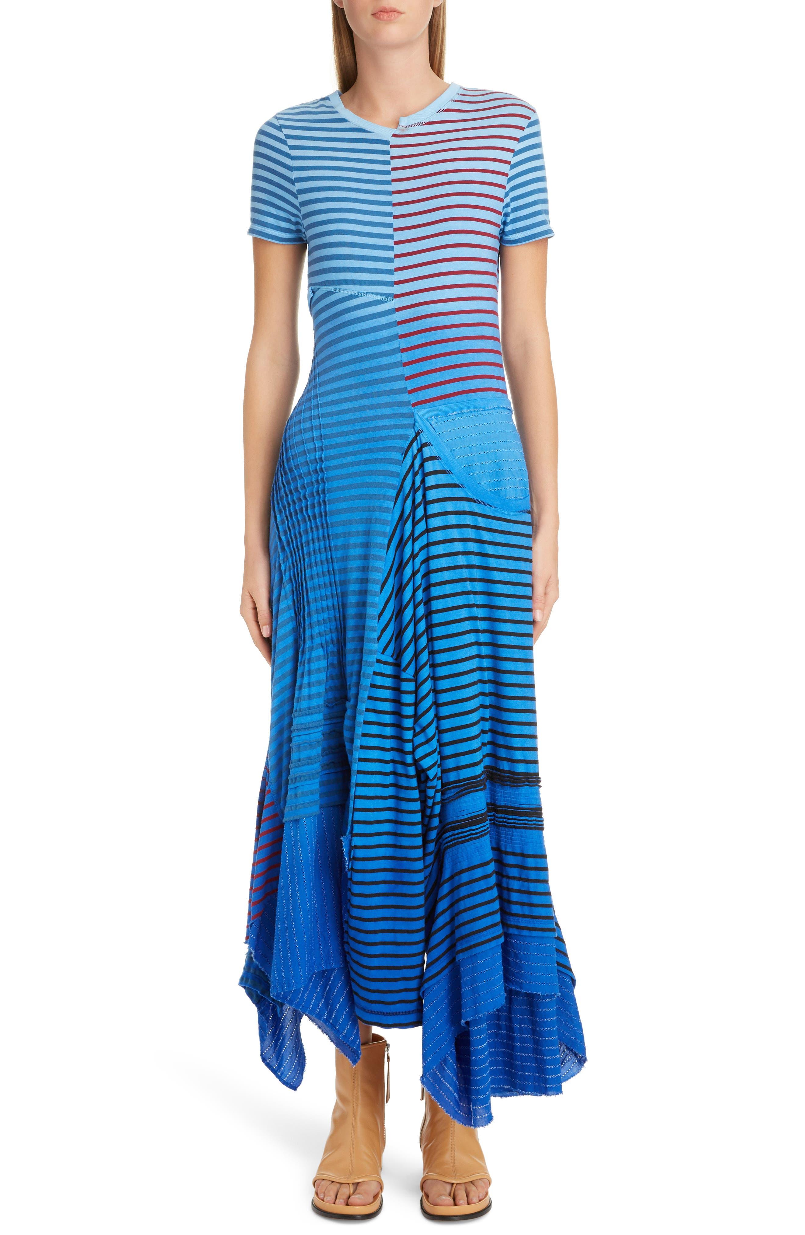 LOEWE Stripe Tie Dye Asymmetrical Dress, Main, color, 5100 BLUE