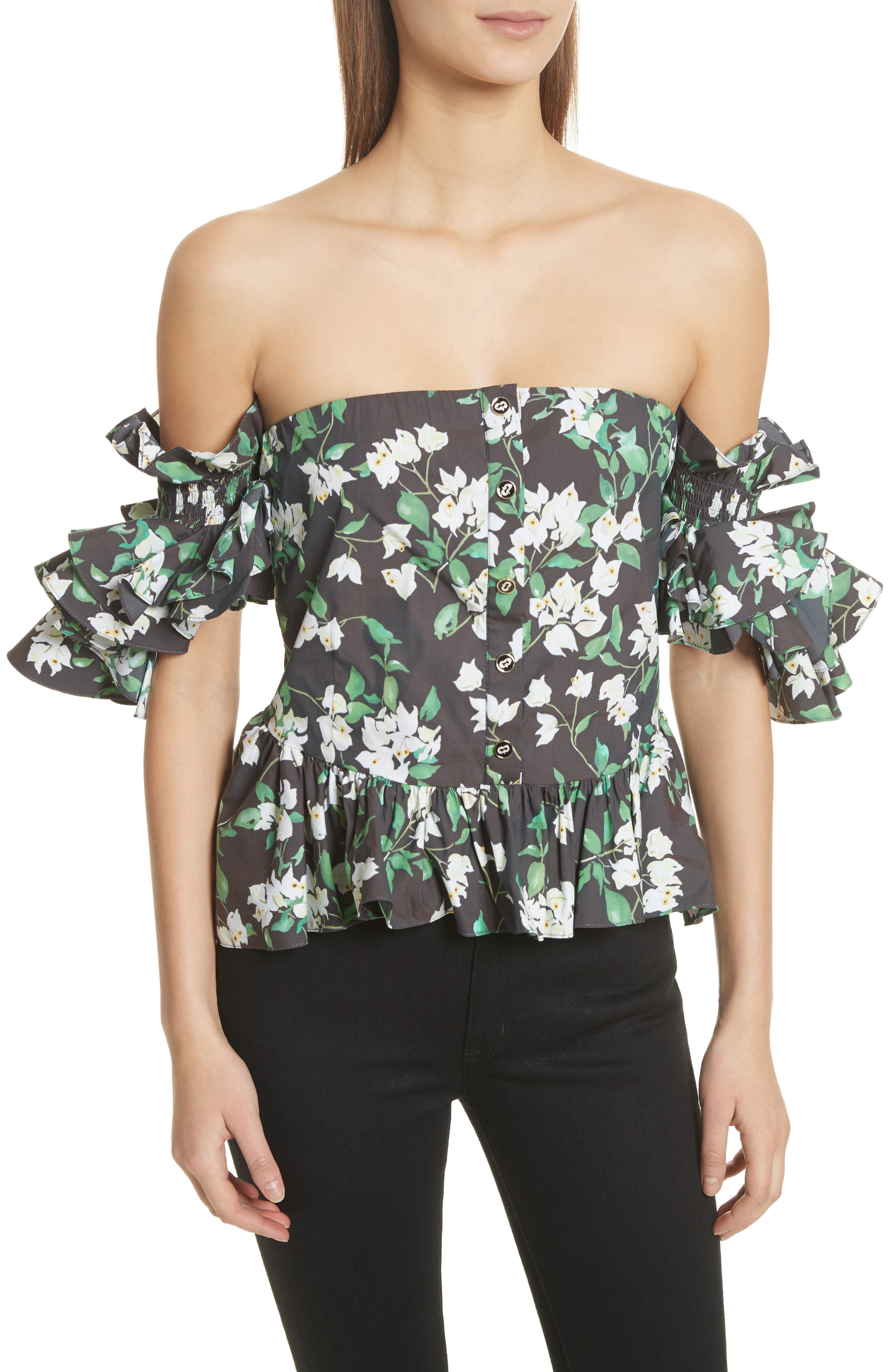 Justina Off the Shoulder Top,                             Main thumbnail 1, color,                             001