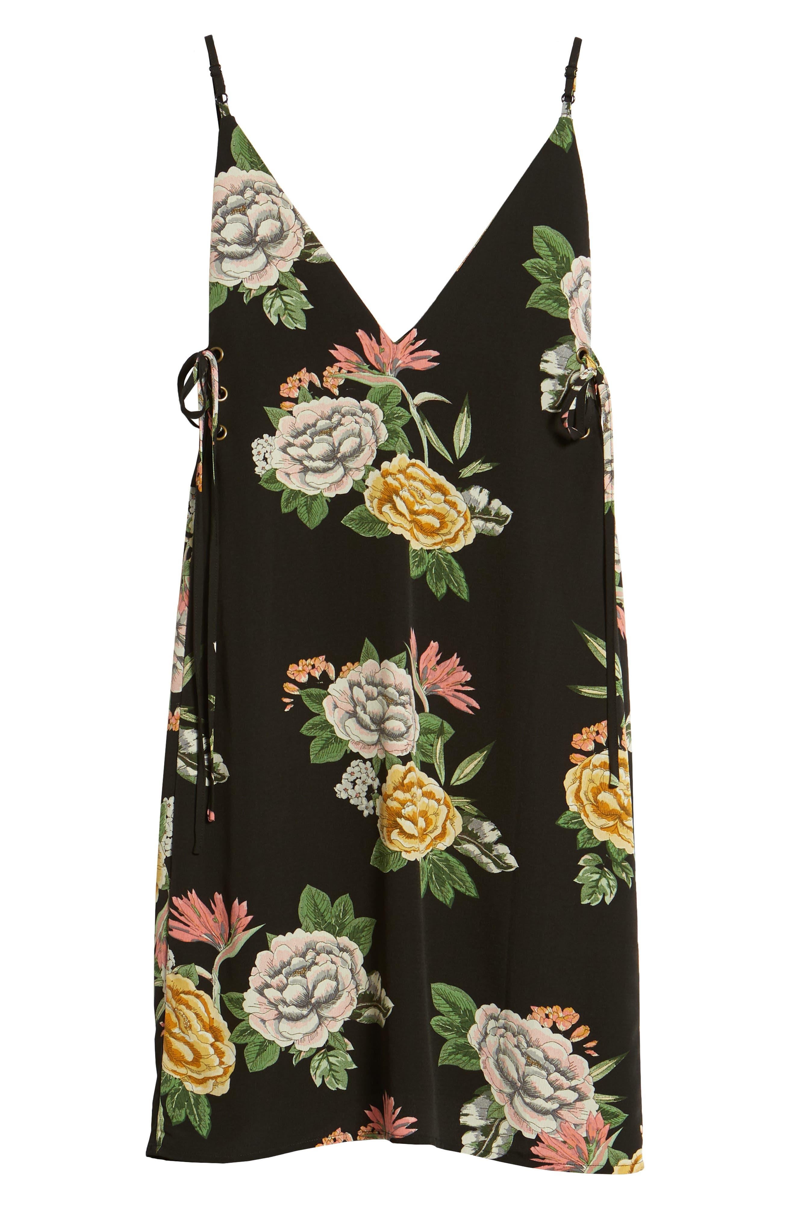Enchanted Garden Lace-Up Dress,                             Alternate thumbnail 7, color,                             ENCHANTED GARDEN PRINT