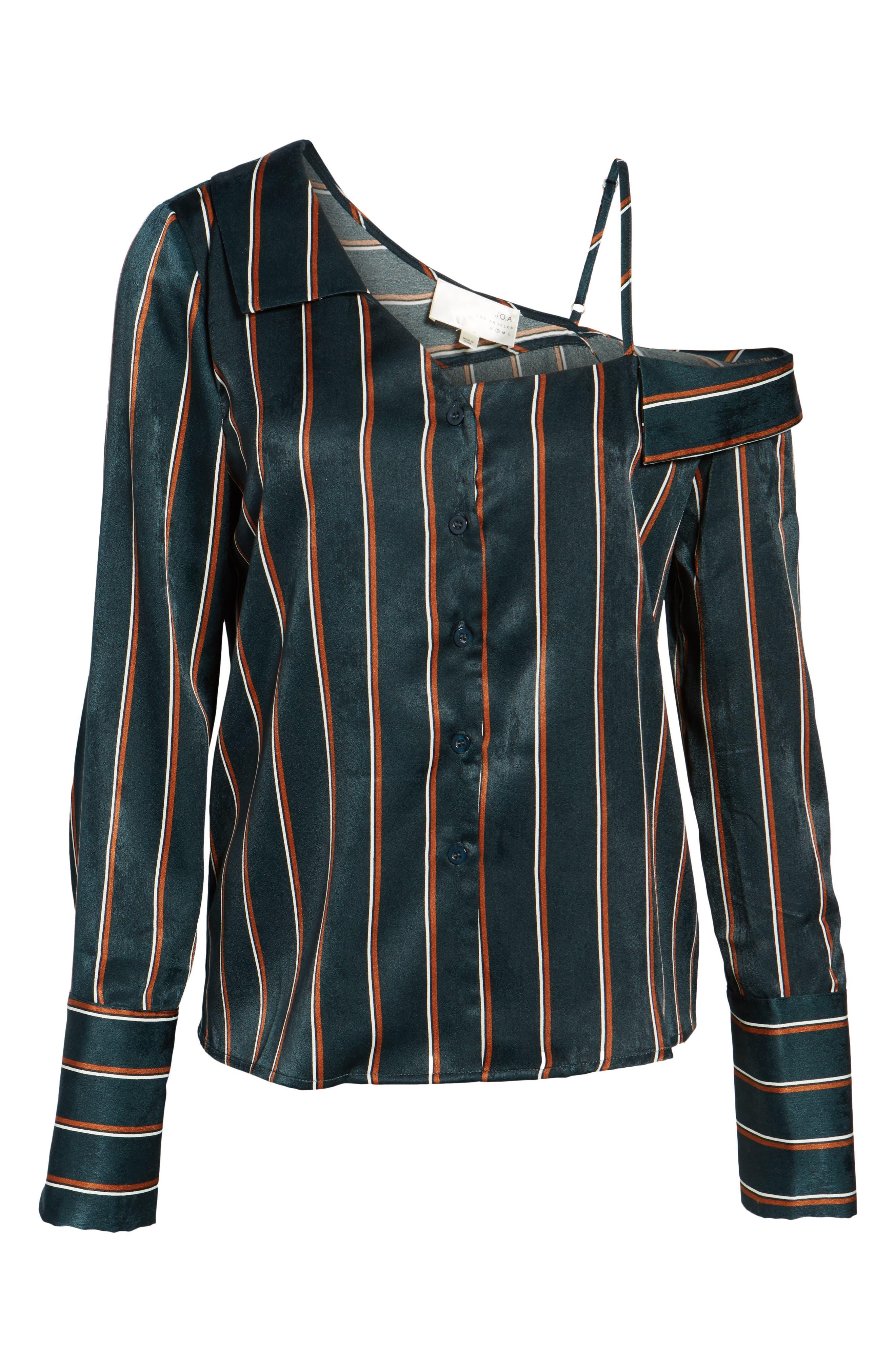 One-Shoulder Stripe Shirt,                             Alternate thumbnail 6, color,                             360