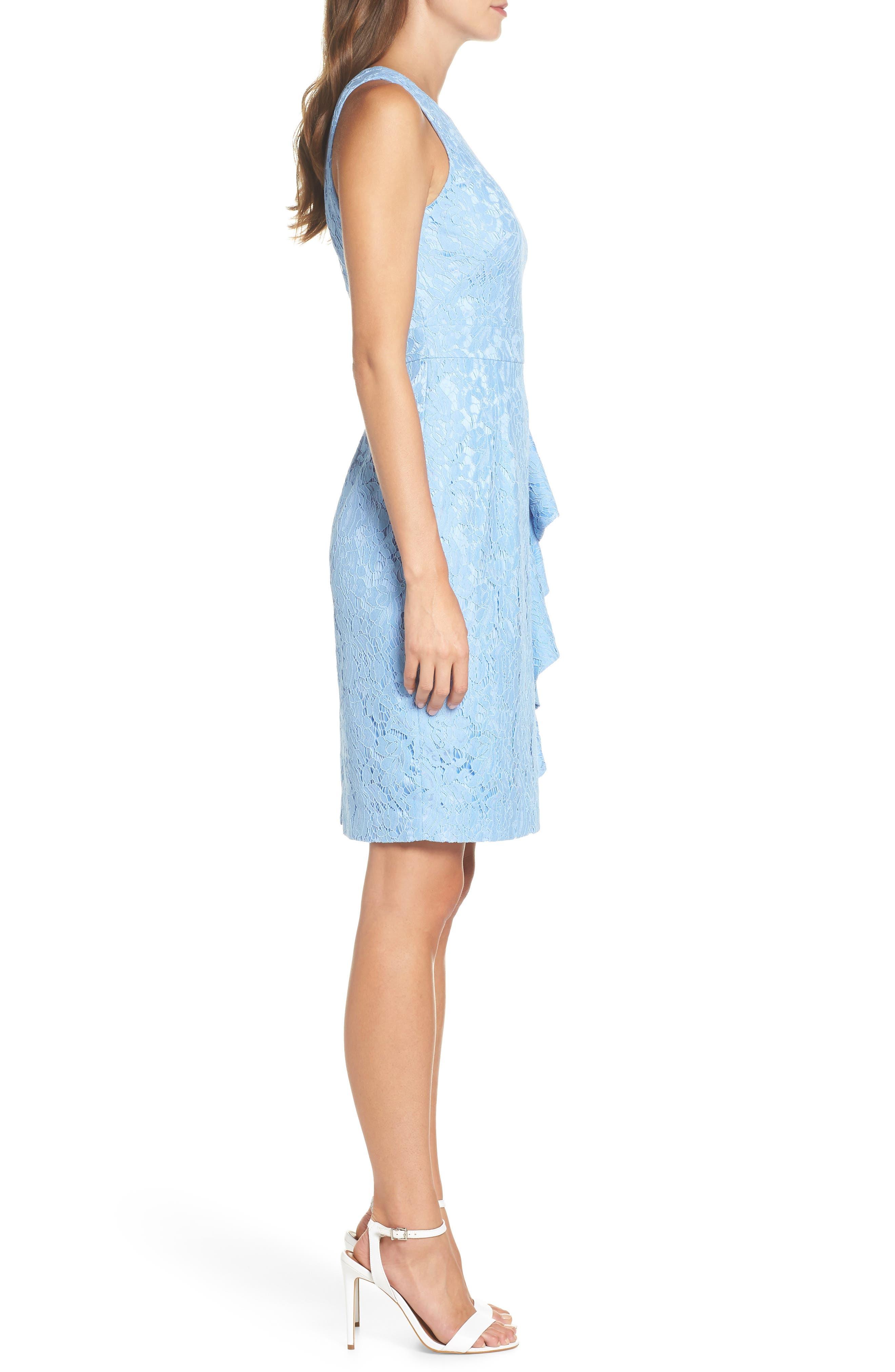 Sleeveless Ruffle Lace Sheath Dress,                             Alternate thumbnail 3, color,                             421