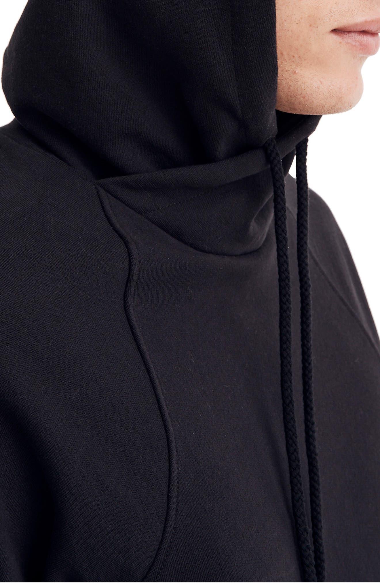 Cotton Hoodie,                             Alternate thumbnail 3, color,                             BLACK