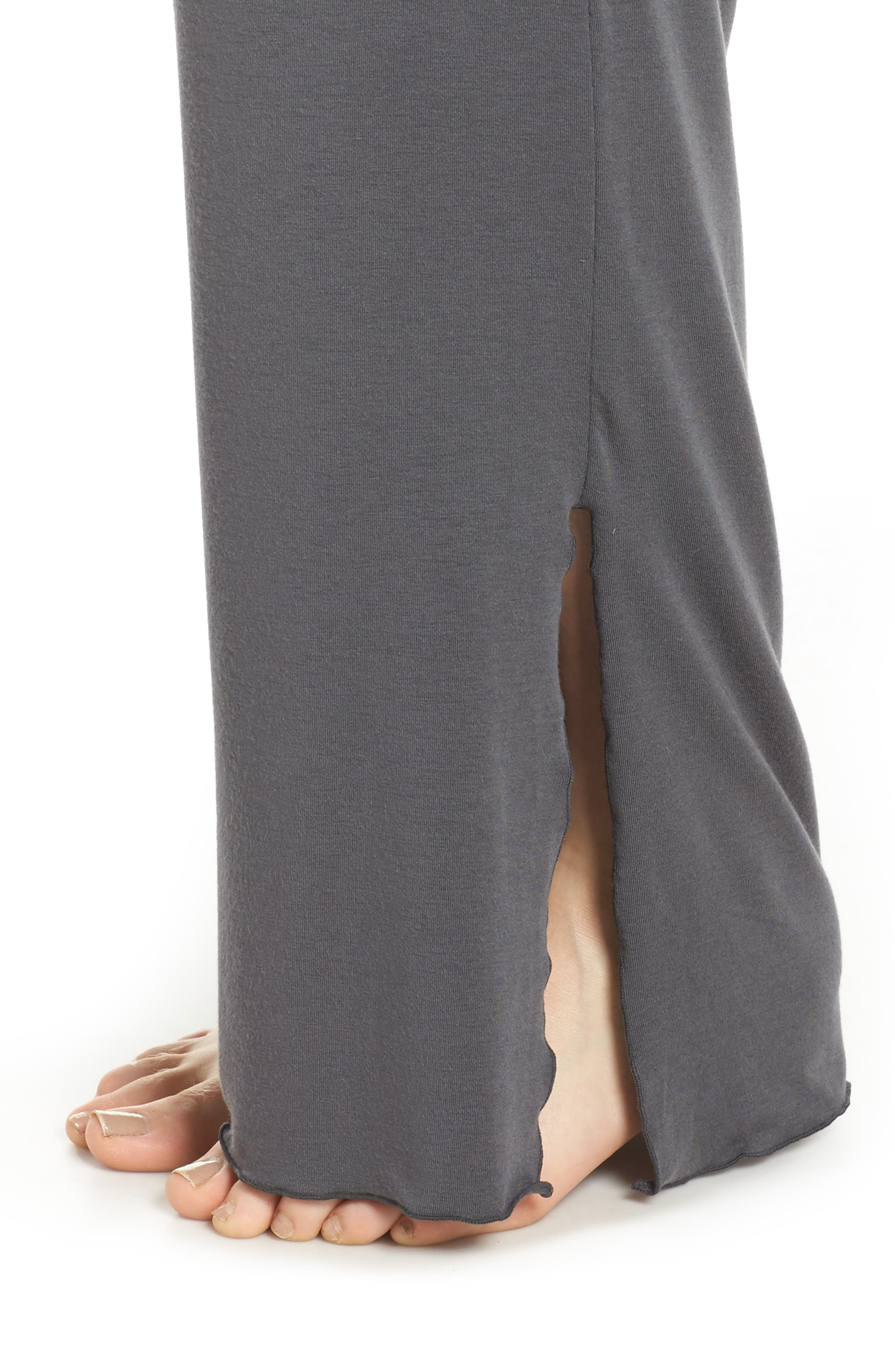 Lace Trim Pants,                             Alternate thumbnail 4, color,                             SLATE WITH JAVA LACE
