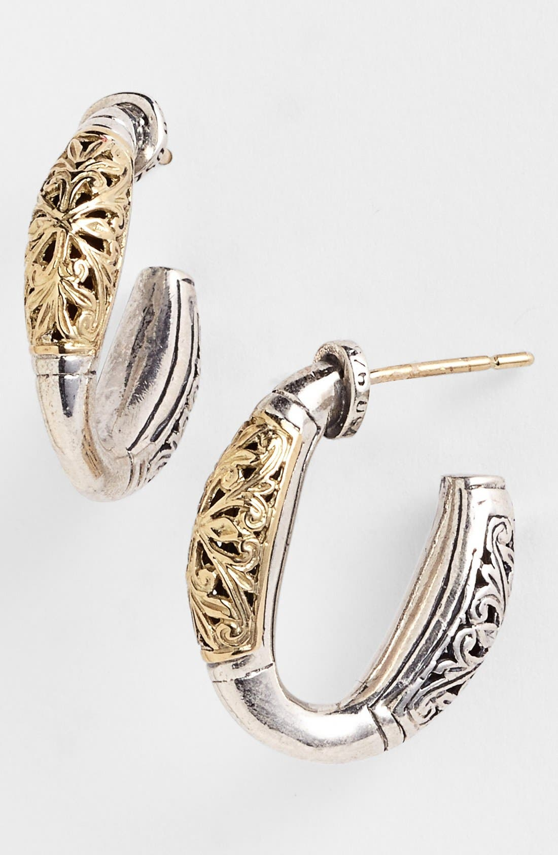 'Classics' Two-Tone Hoop Earrings,                             Main thumbnail 1, color,                             SILVER/ GOLD