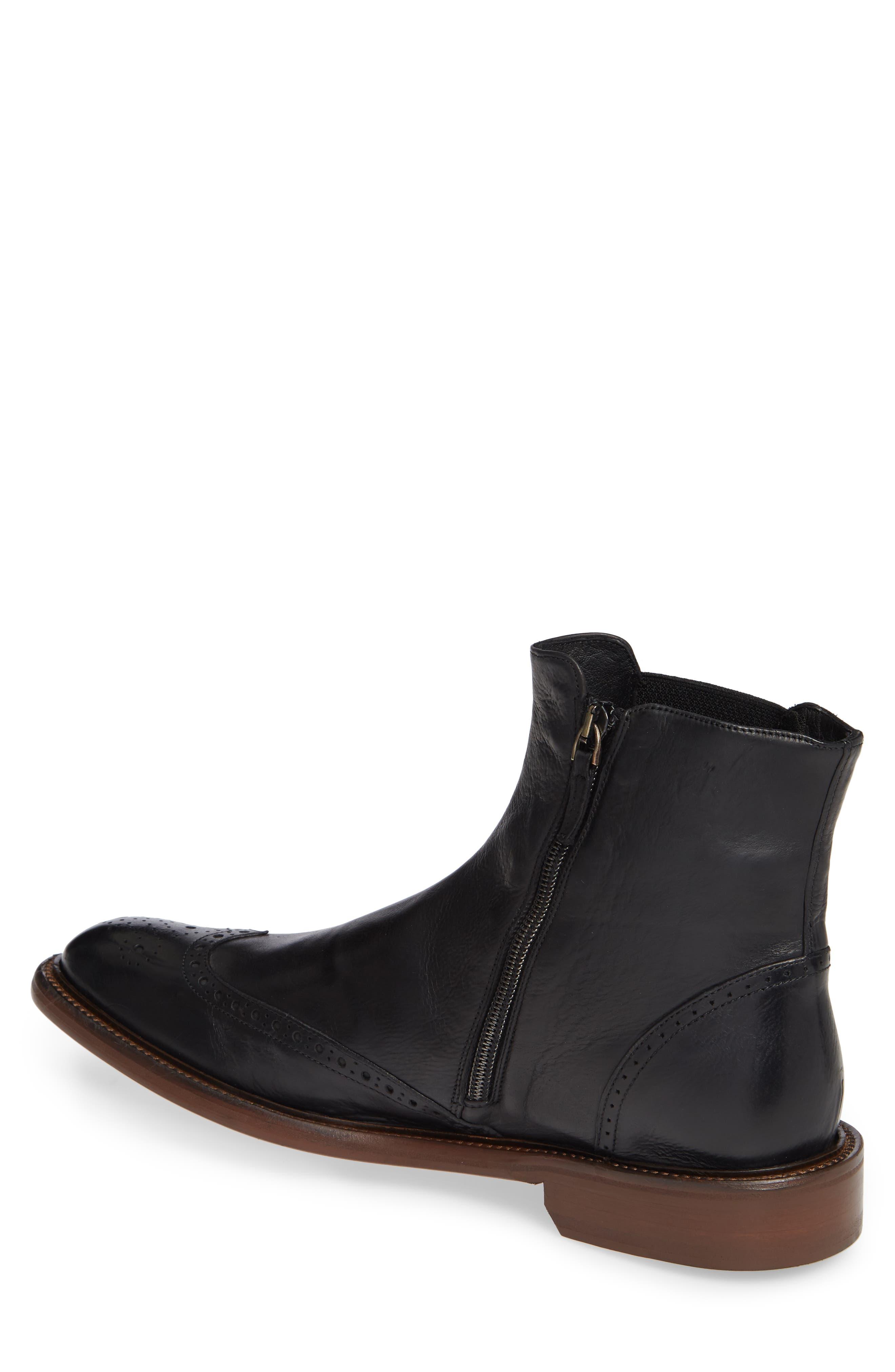 Bryson Wingtip Chelsea Boot,                             Alternate thumbnail 2, color,                             BLACK LEATHER