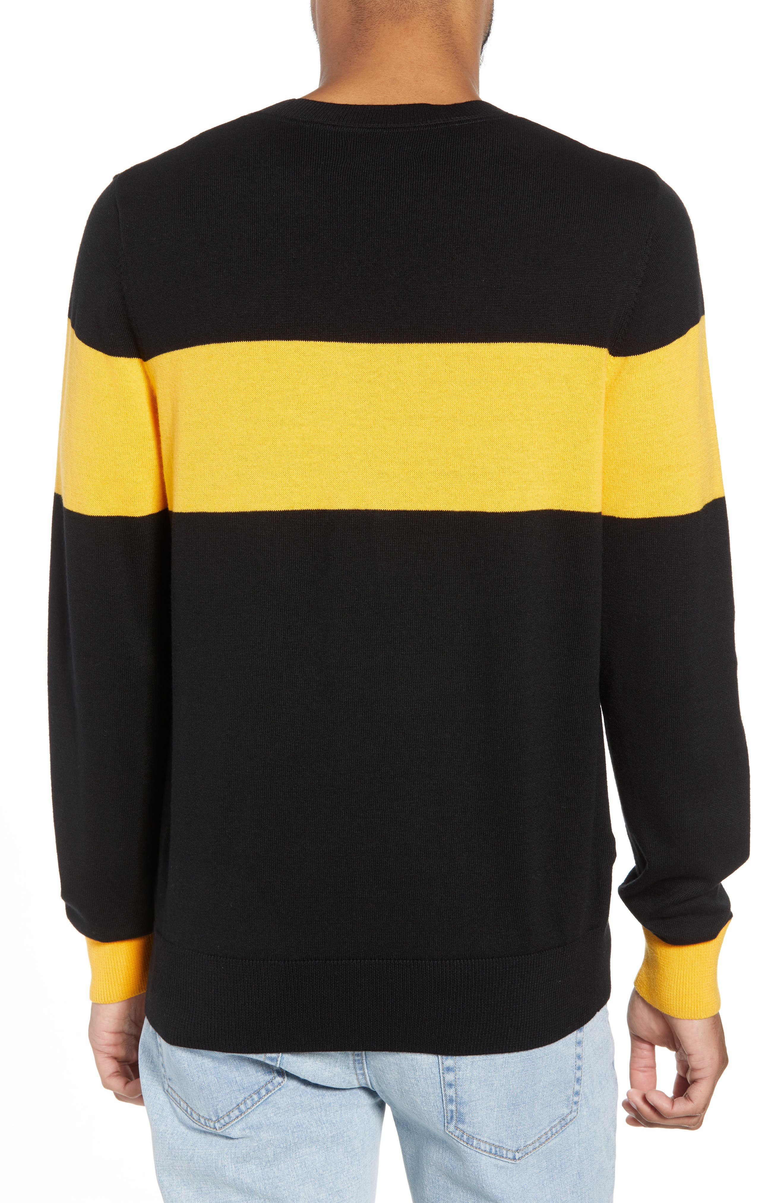 Rugby Stripe Sweater,                             Alternate thumbnail 2, color,                             BLACK YELLOW RUGBY STRIPE