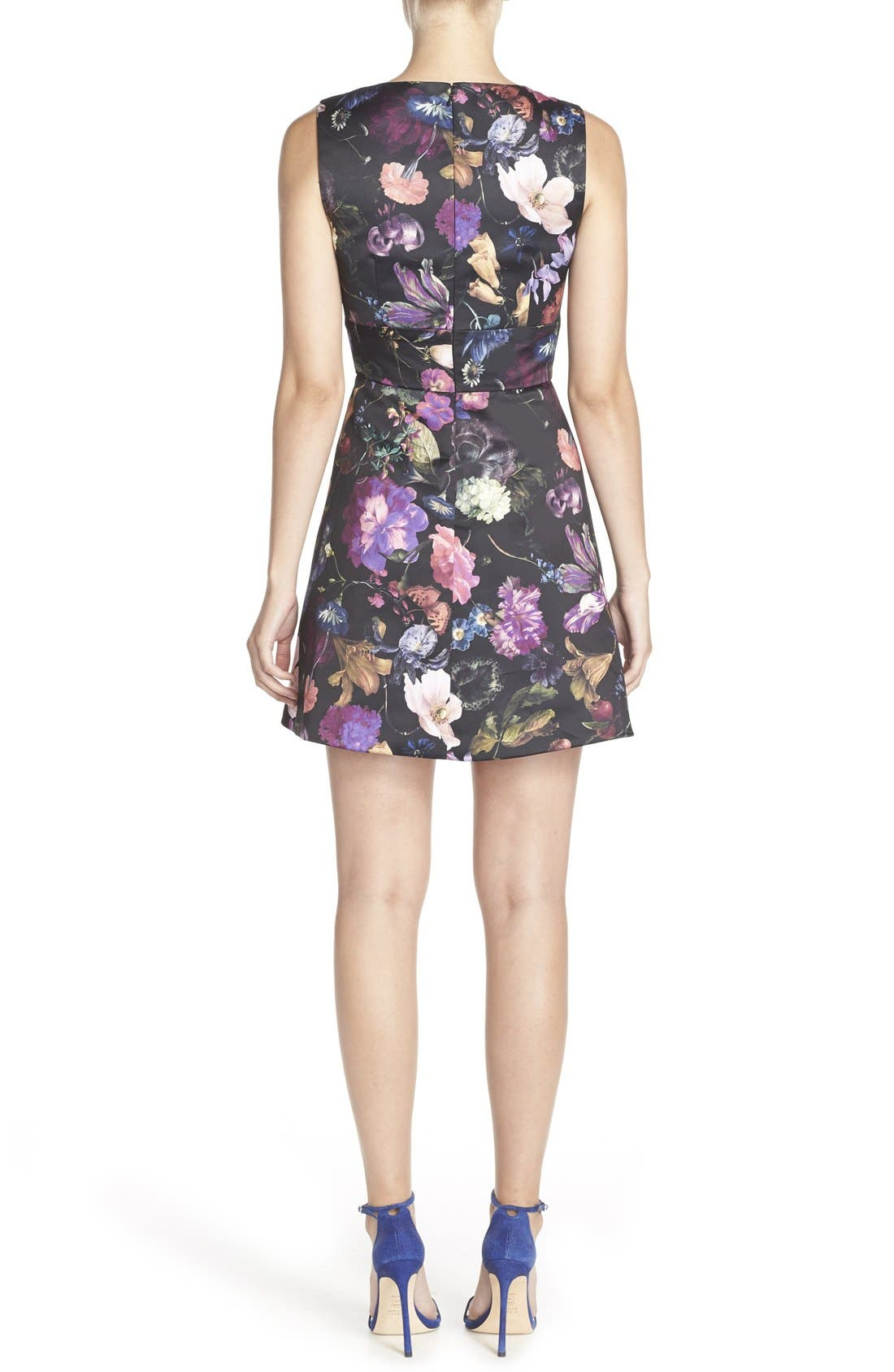 Cythia Rowley 'Winter' Floral Print Woven Fit & Flare Dress,                             Alternate thumbnail 4, color,                             009