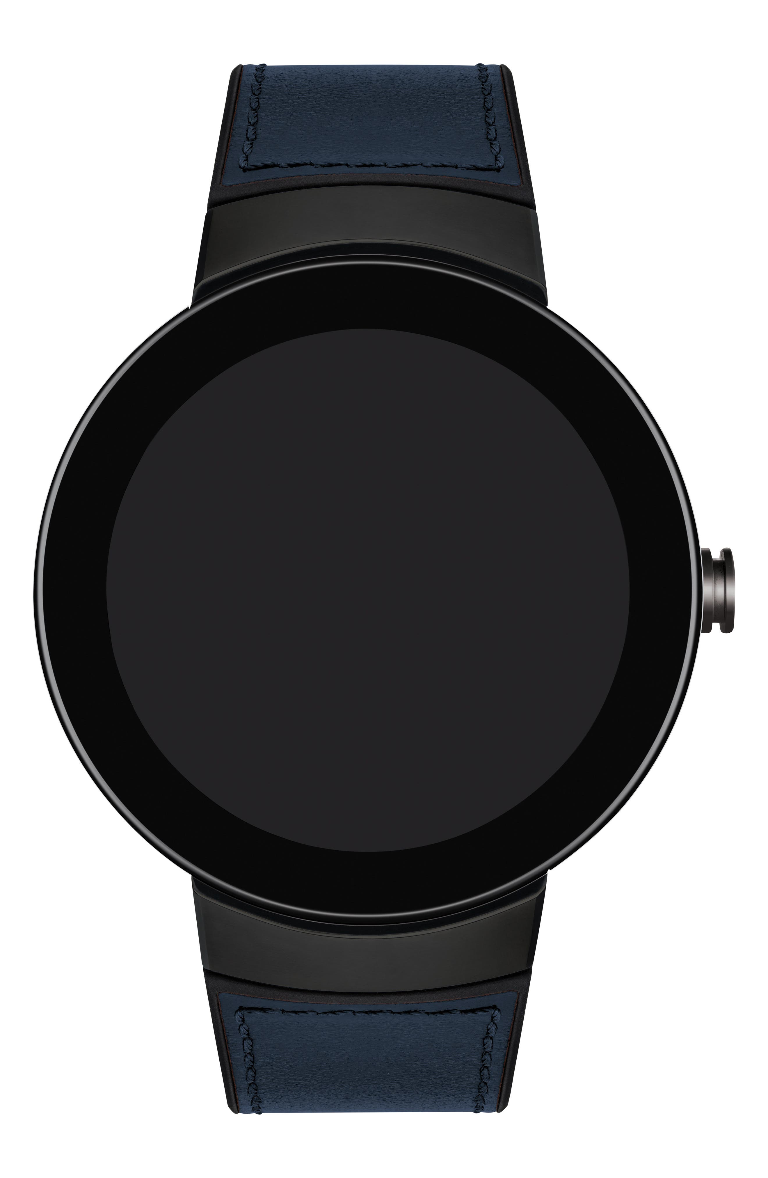 Connect Silicone & Leather Strap Smart Watch, 44mm,                             Alternate thumbnail 4, color,                             NAVY/ BLACK/ GUNMETAL