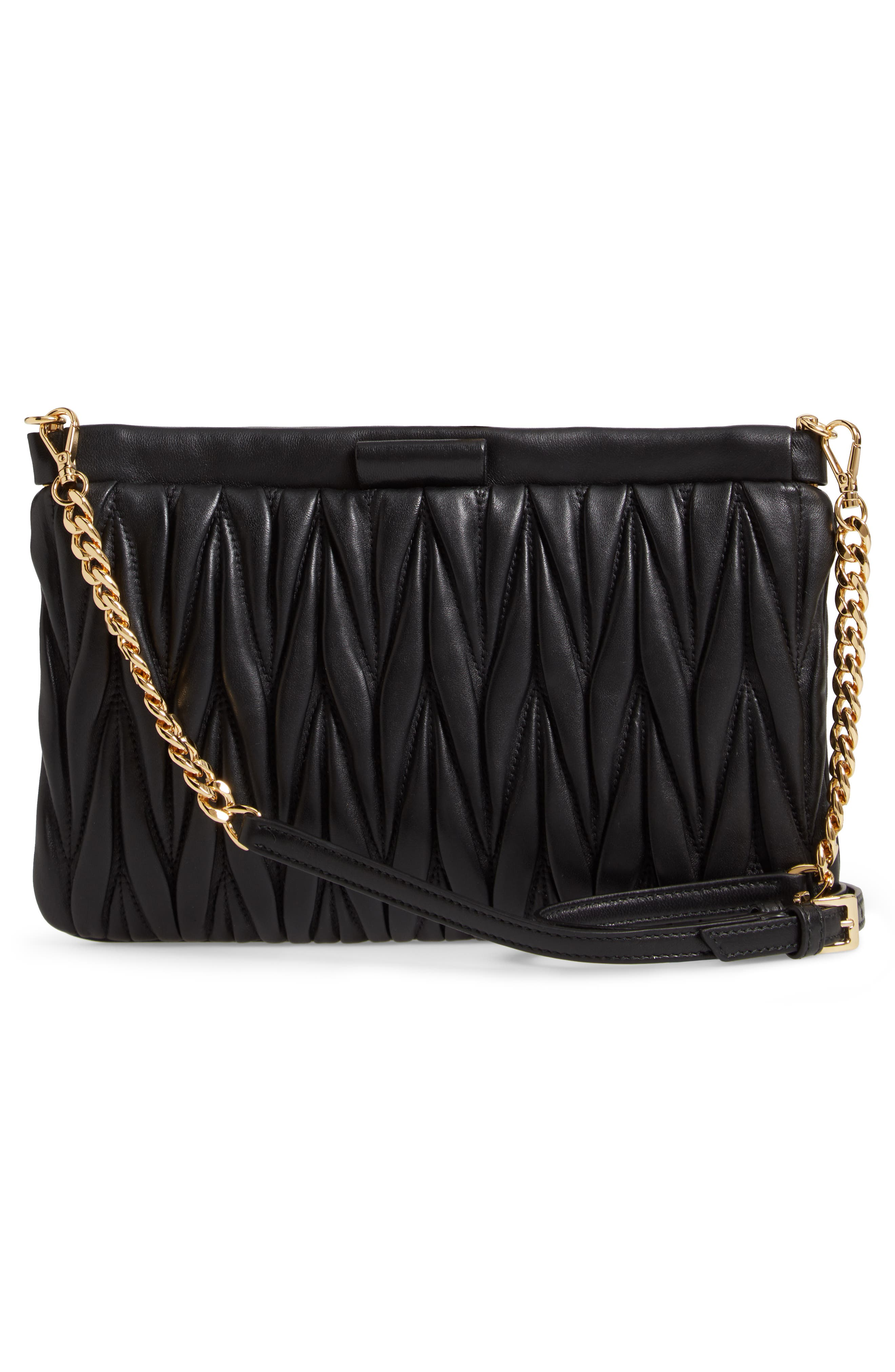 Matelassé Lambskin Leather Clutch,                             Alternate thumbnail 3, color,                             NERO