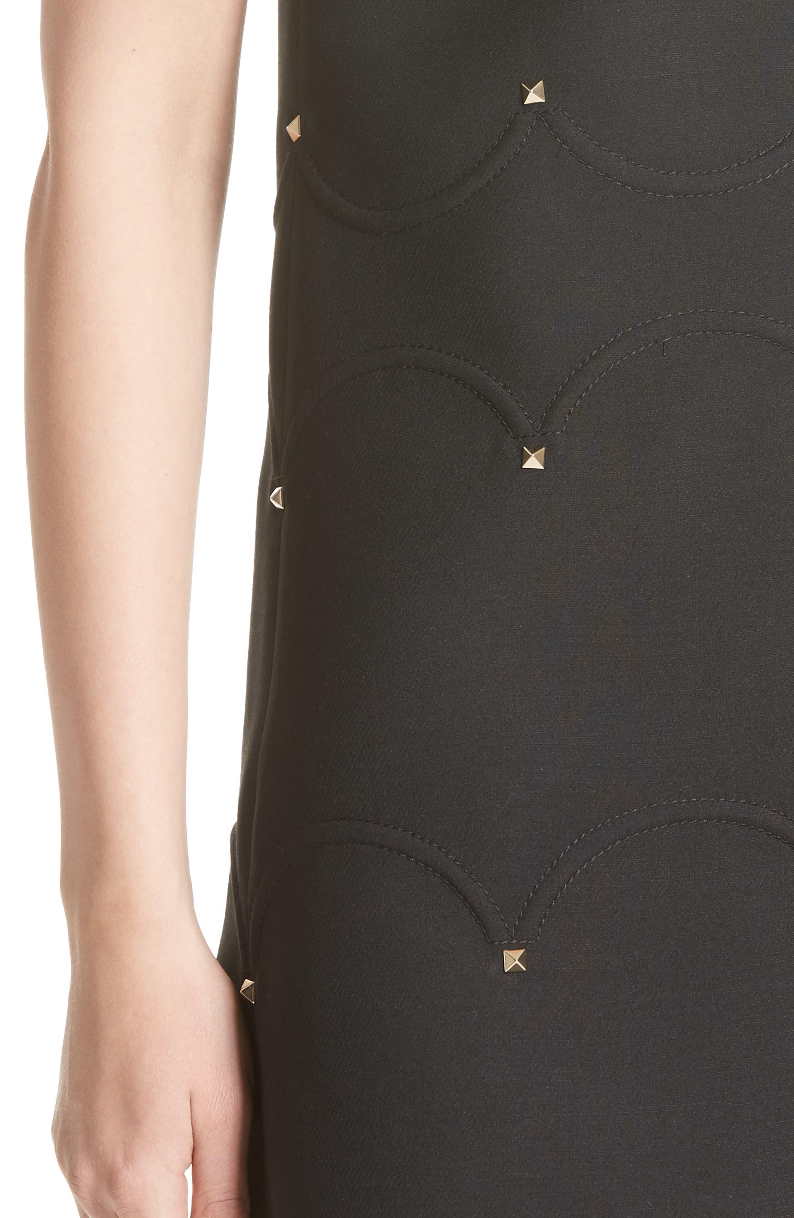 Studded Scallop Dress,                             Alternate thumbnail 4, color,                             BLACK