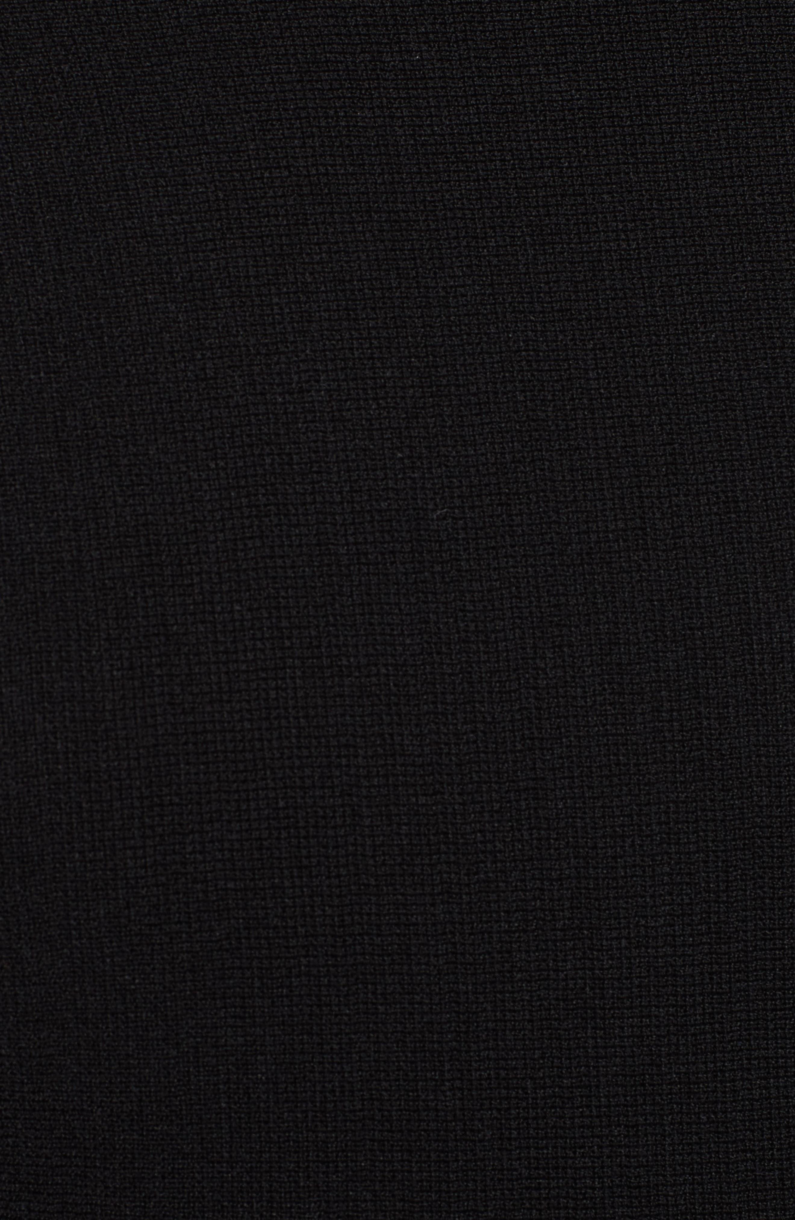 Crochet Sleeve Open Back Dress,                             Alternate thumbnail 5, color,                             001