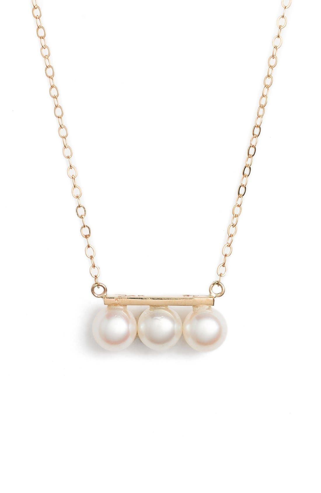 Triple Pearl Pendant Necklace,                             Main thumbnail 1, color,                             YELLOW GOLD/ WHITE PEARL