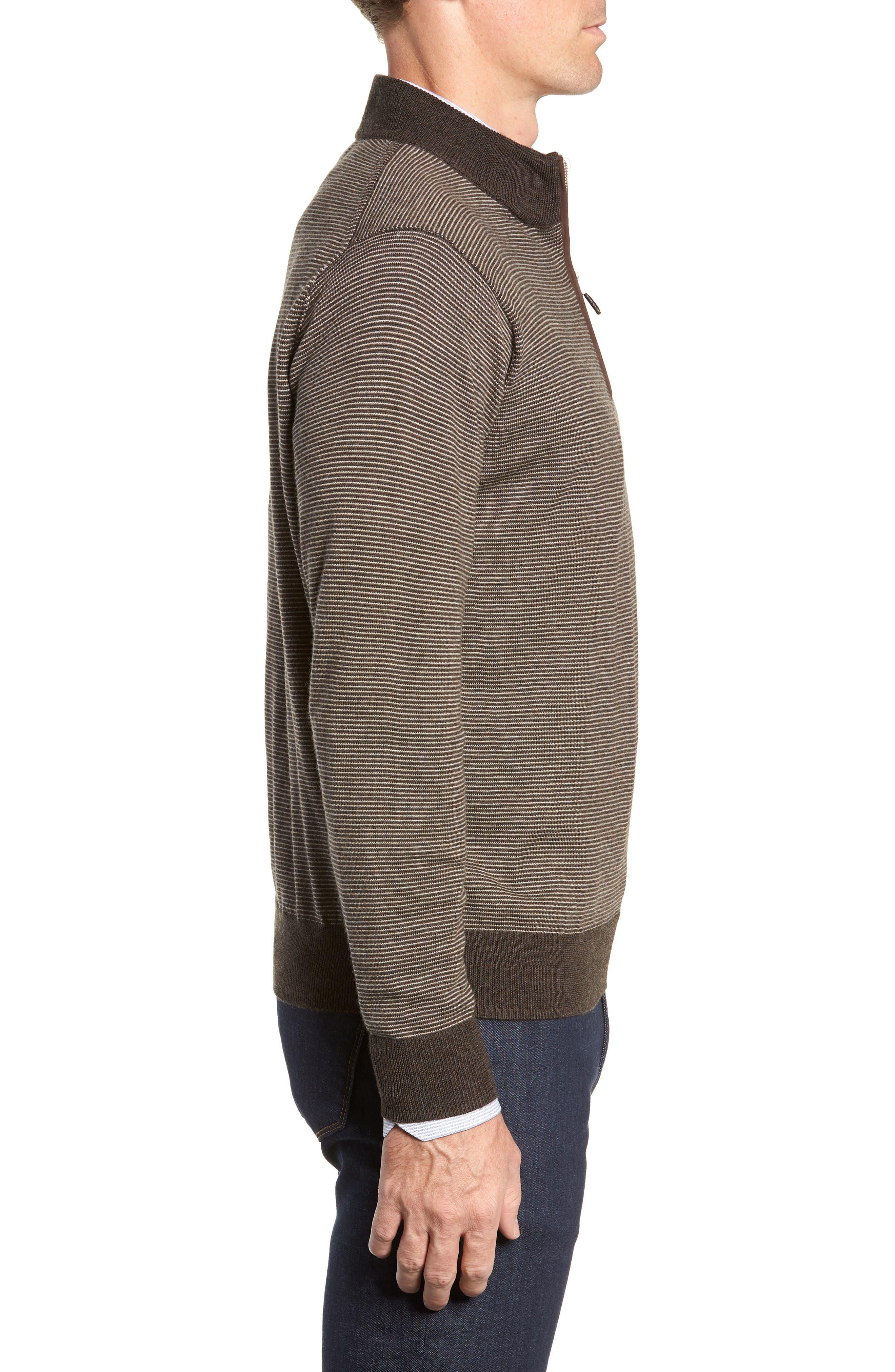 Needle Stripe Quarter Zip Sweater,                             Alternate thumbnail 3, color,                             200