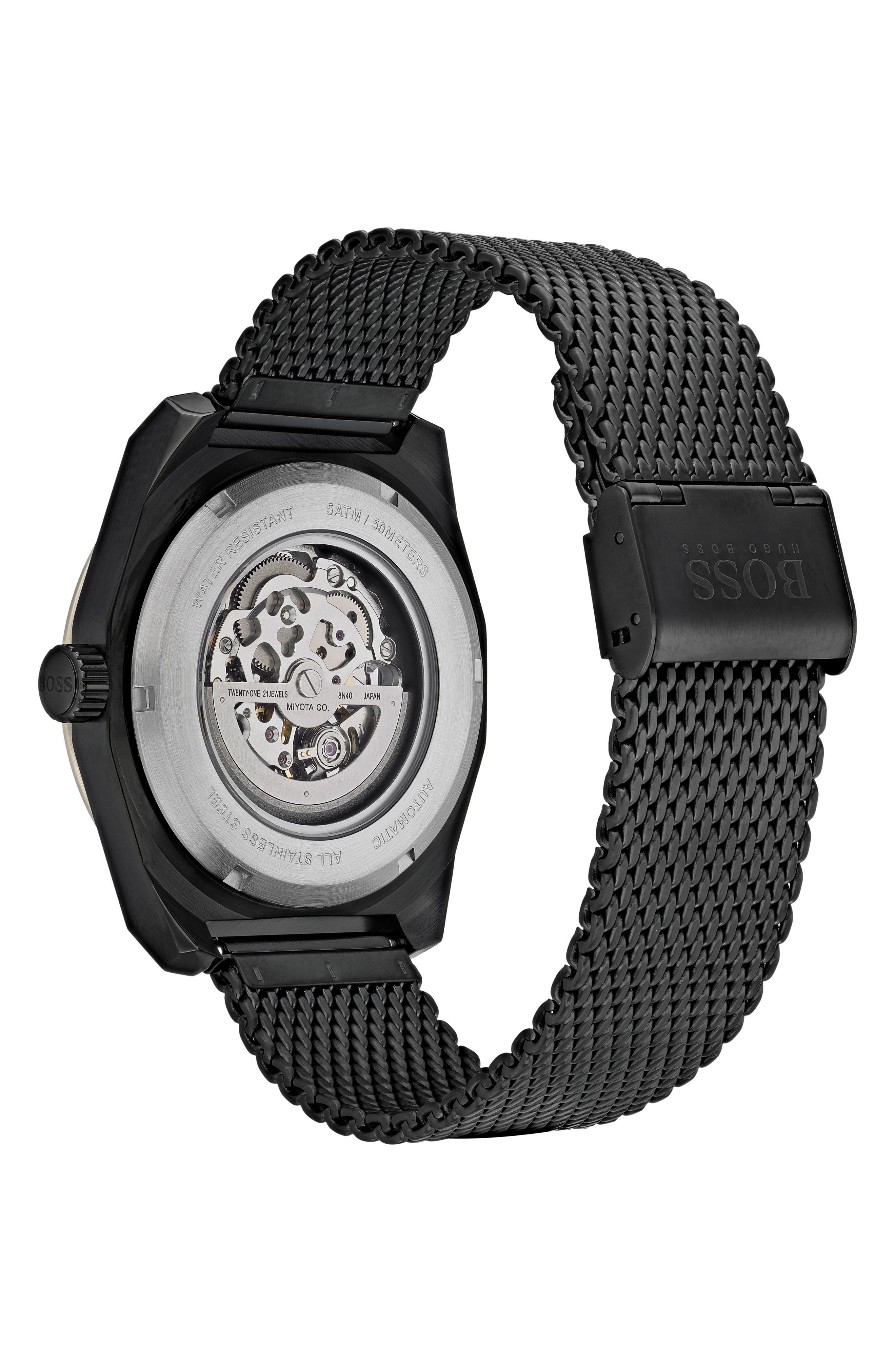 Signature Timepiece Collection Automatic Mesh Bracelet Watch, 44mm,                             Alternate thumbnail 2, color,                             SKELETON/ BLACK