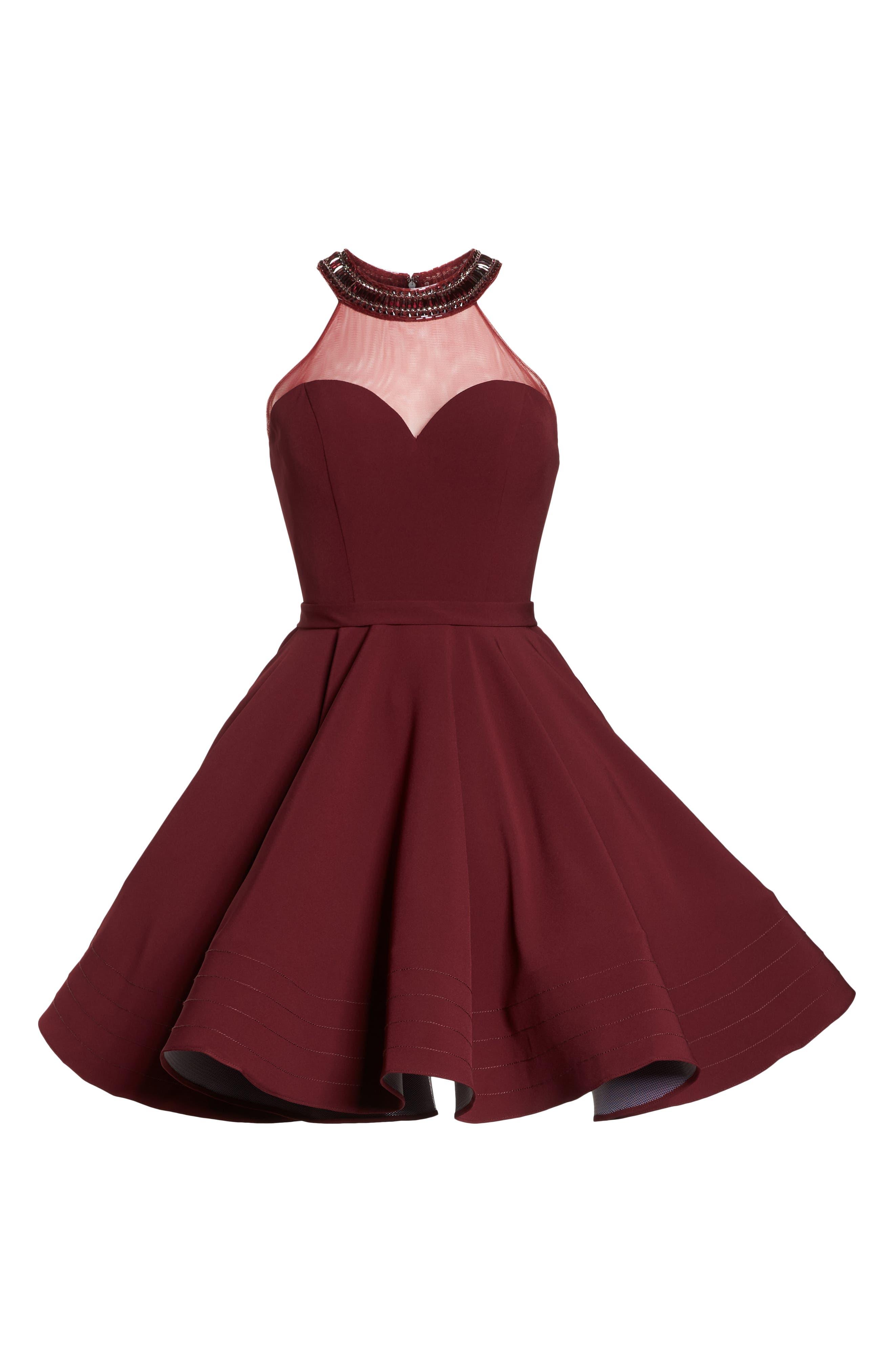 Beaded Illusion Neck Skater Dress,                             Alternate thumbnail 6, color,                             BURGUNDY