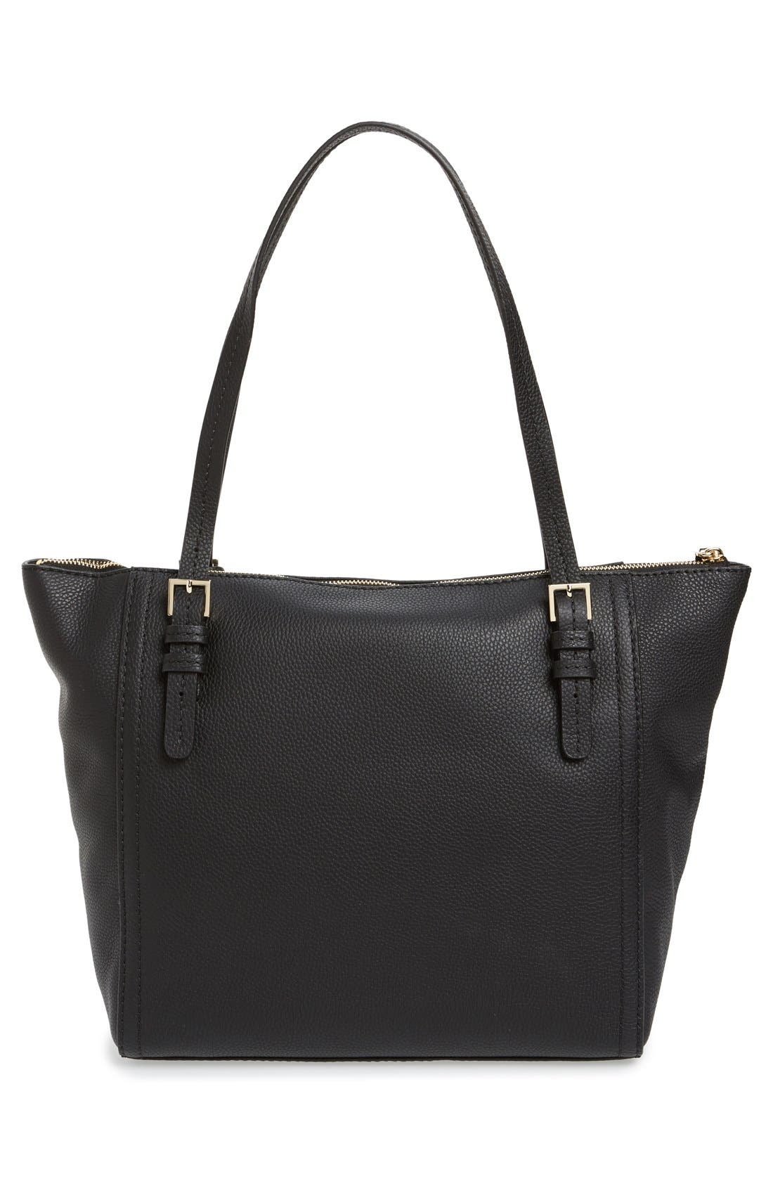 orchard street - maya leather tote,                             Alternate thumbnail 8, color,                             001