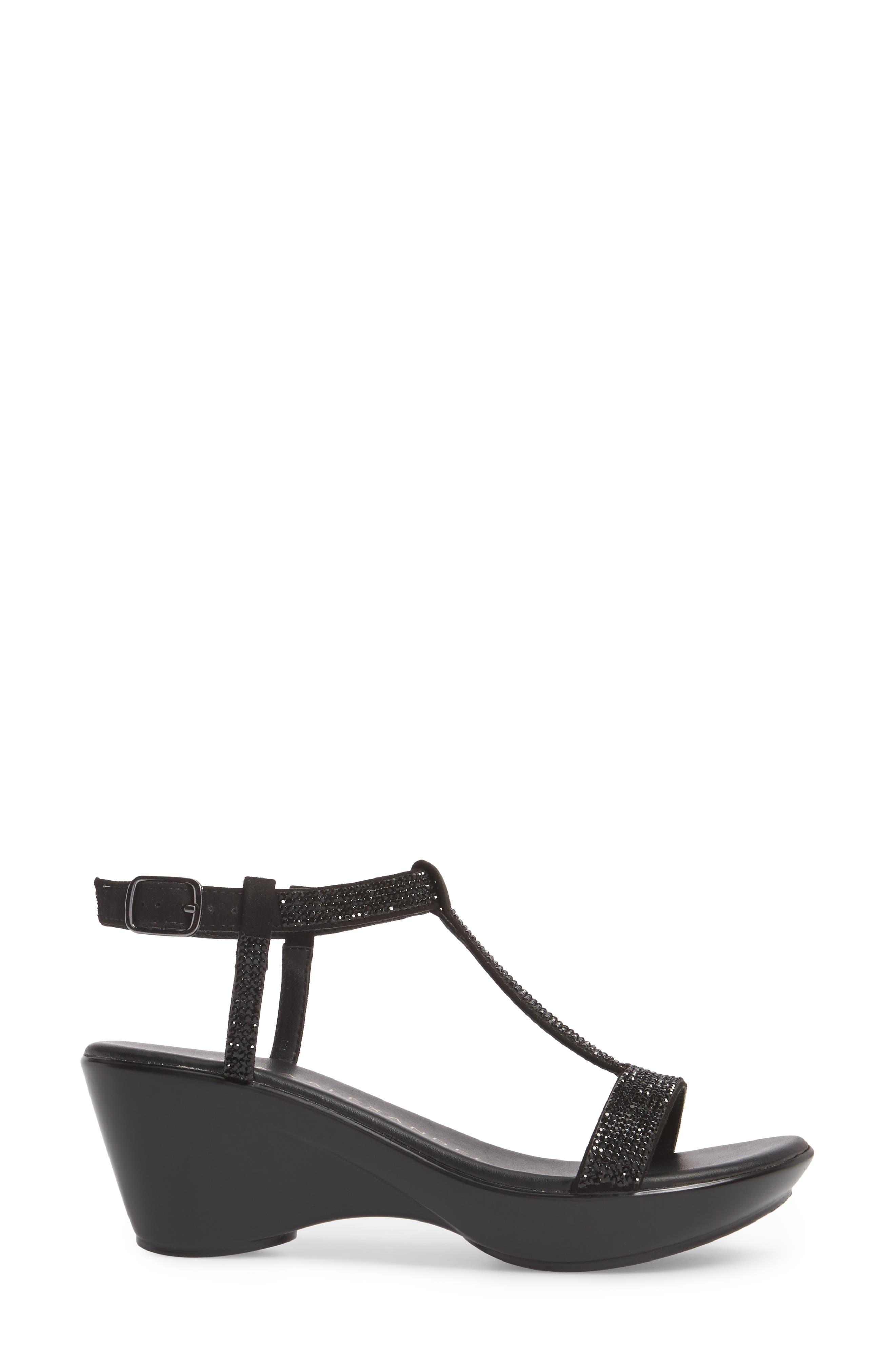 Athena Alexandar Karinya Embellished Strappy Wedge Sandal,                             Alternate thumbnail 3, color,                             BLACK SUEDE