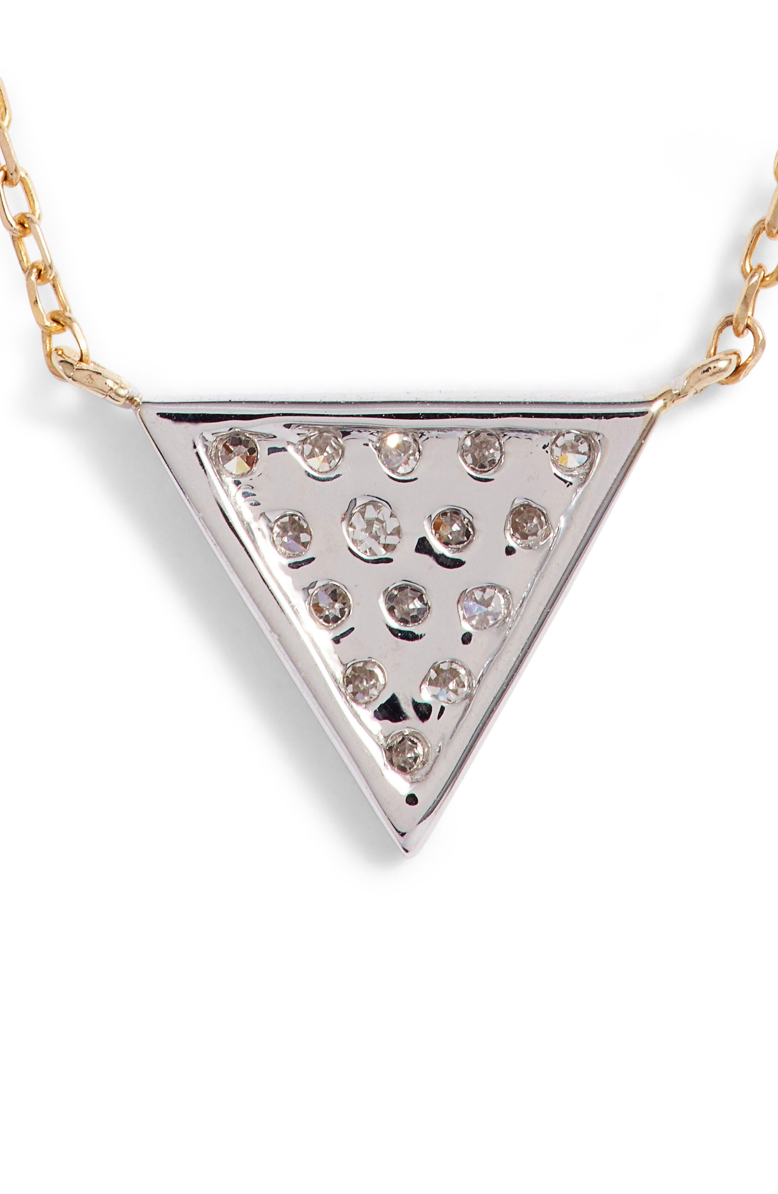 'Emily Sarah' Diamond Triangle Pendant Necklace,                             Alternate thumbnail 5, color,                             YELLOW GOLD