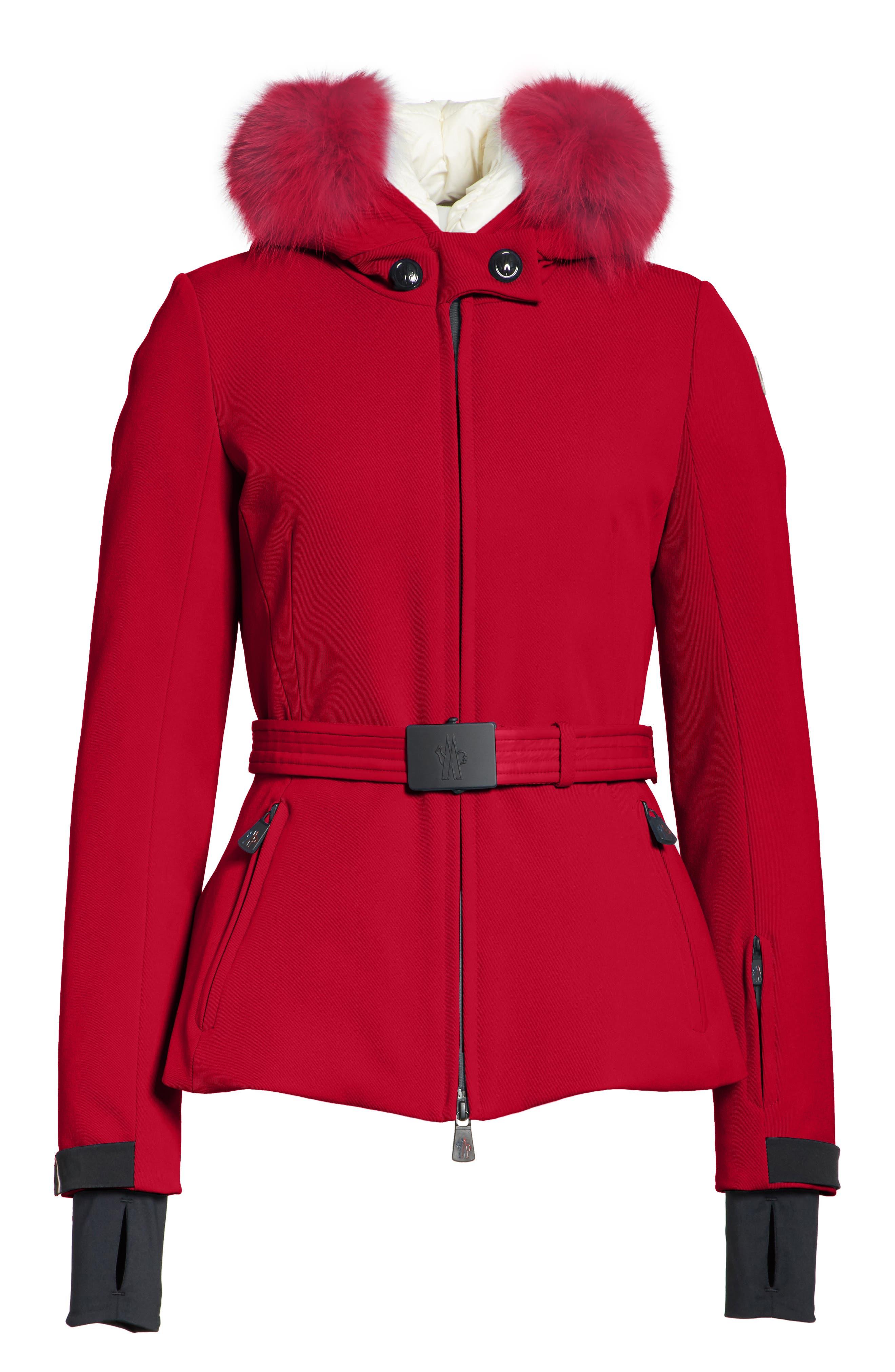 MONCLER,                             Bauges Water Repellent Hooded Down Coat with Detachable Genuine Fox Fur Trim,                             Alternate thumbnail 5, color,                             RED