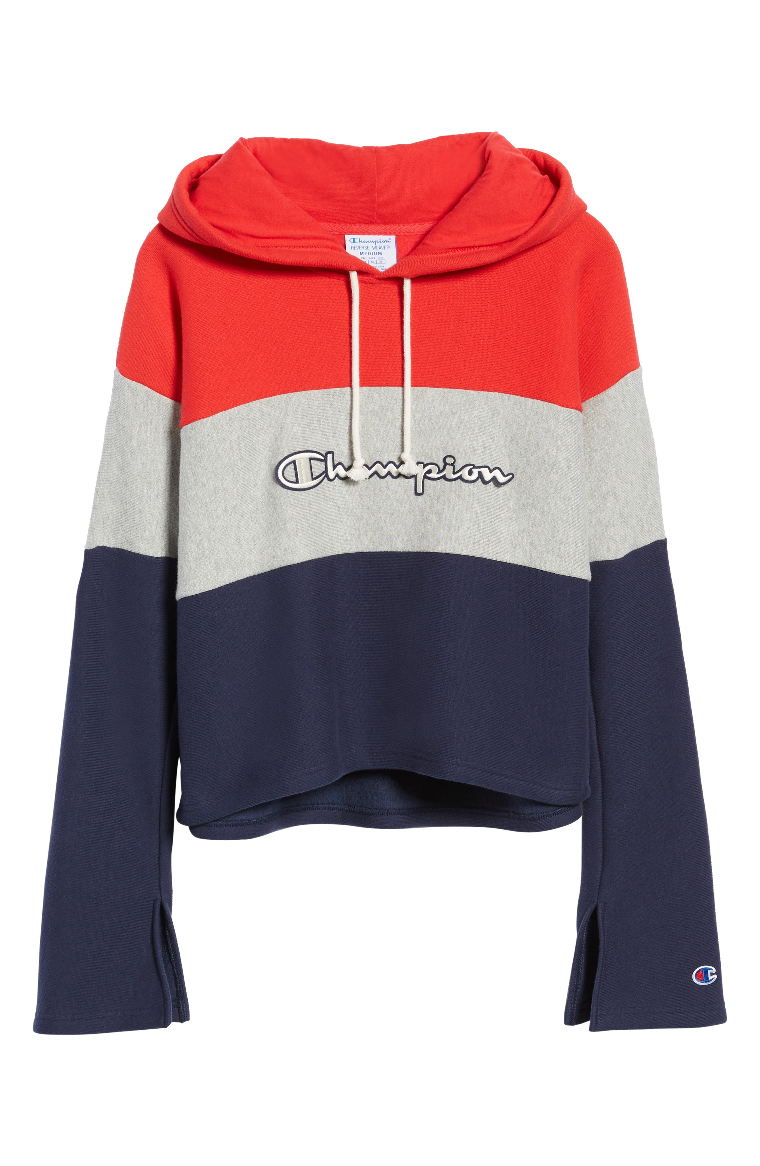 Colorblock Hoodie,                             Alternate thumbnail 7, color,                             RED SPK/ OXFRD GRY/ IMPIND