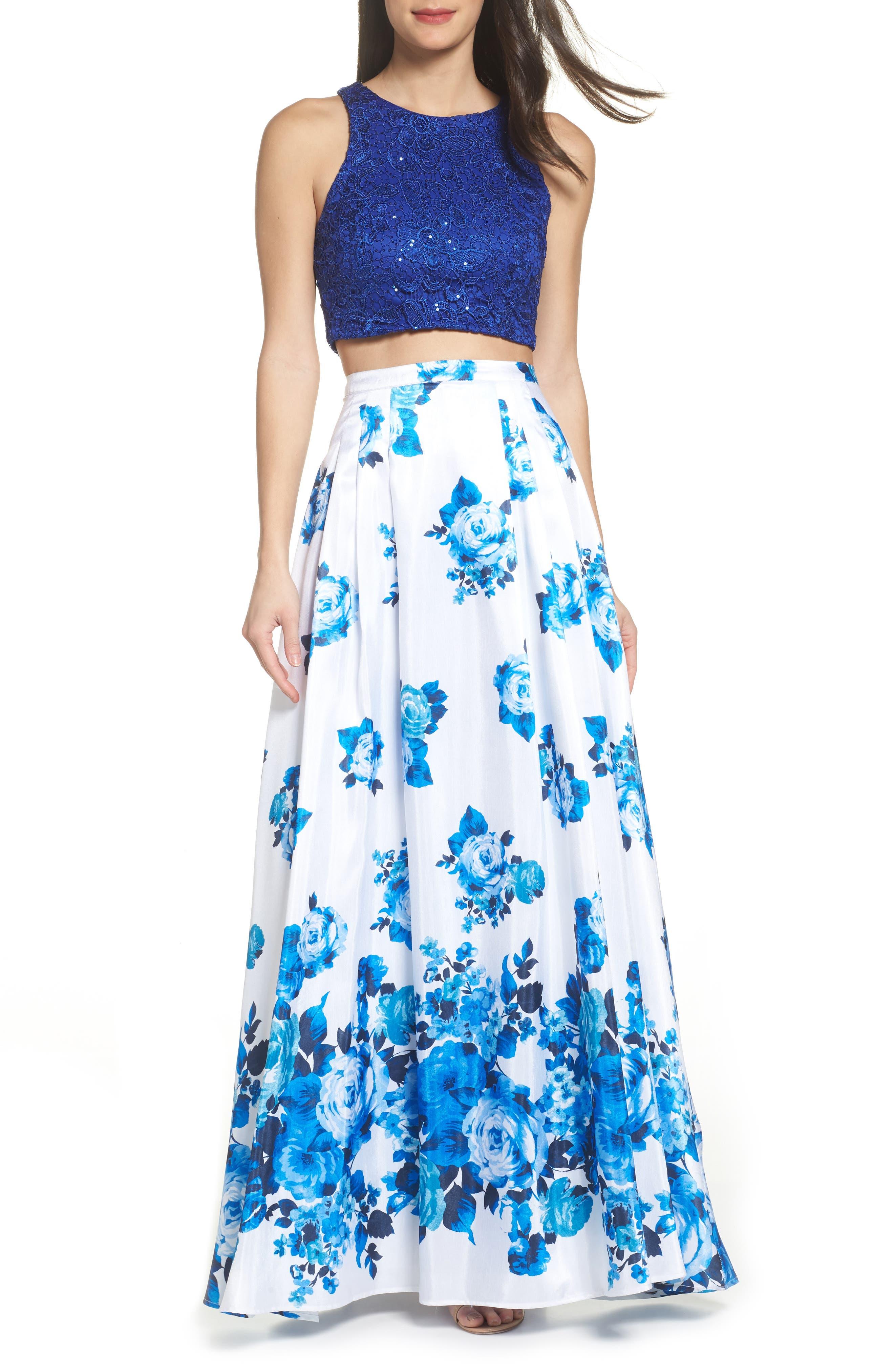 Floral Lace Two-Piece Gown,                             Main thumbnail 1, color,