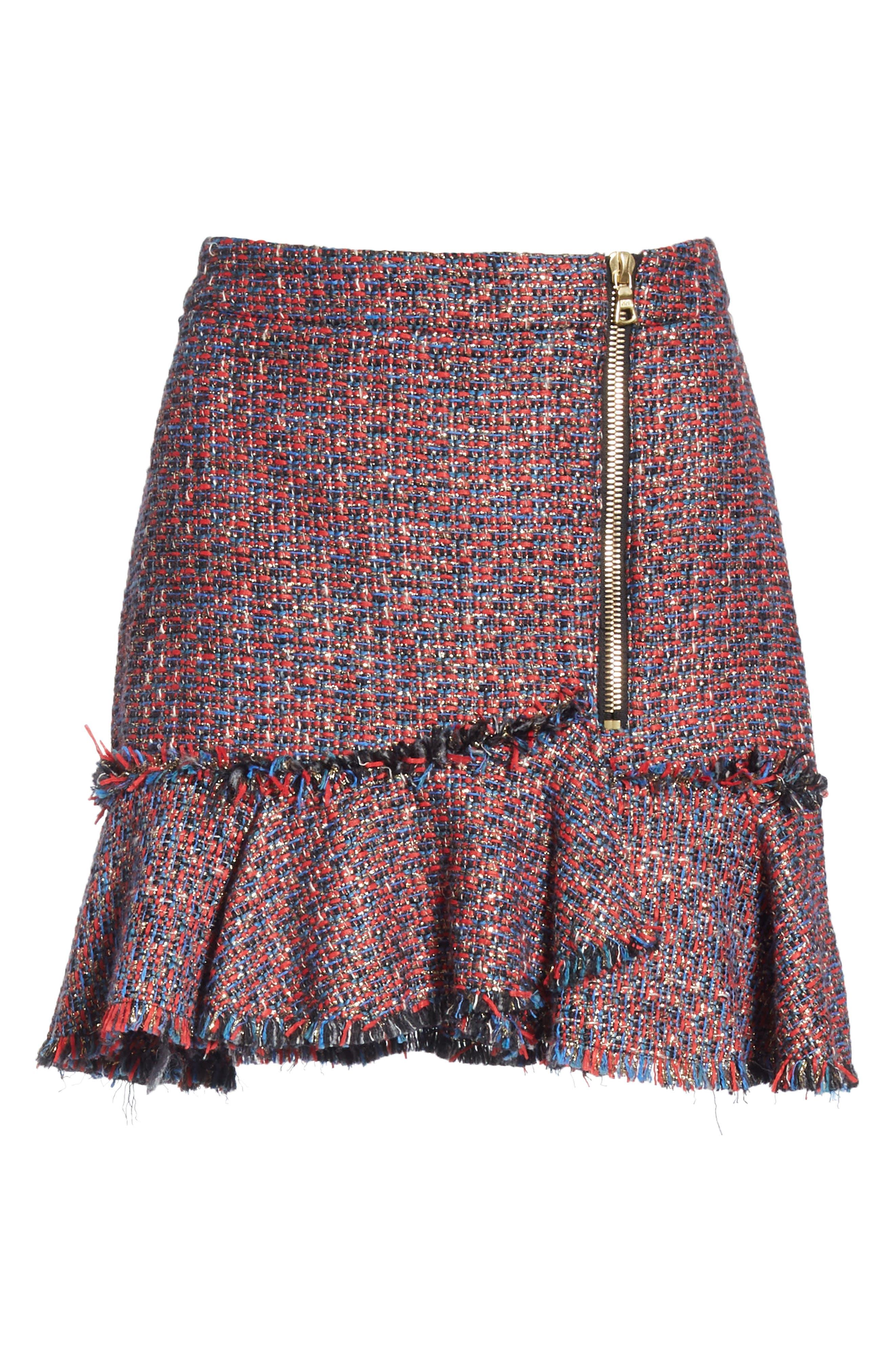 Madra Tweed Skirt,                             Alternate thumbnail 6, color,                             RED MULTI