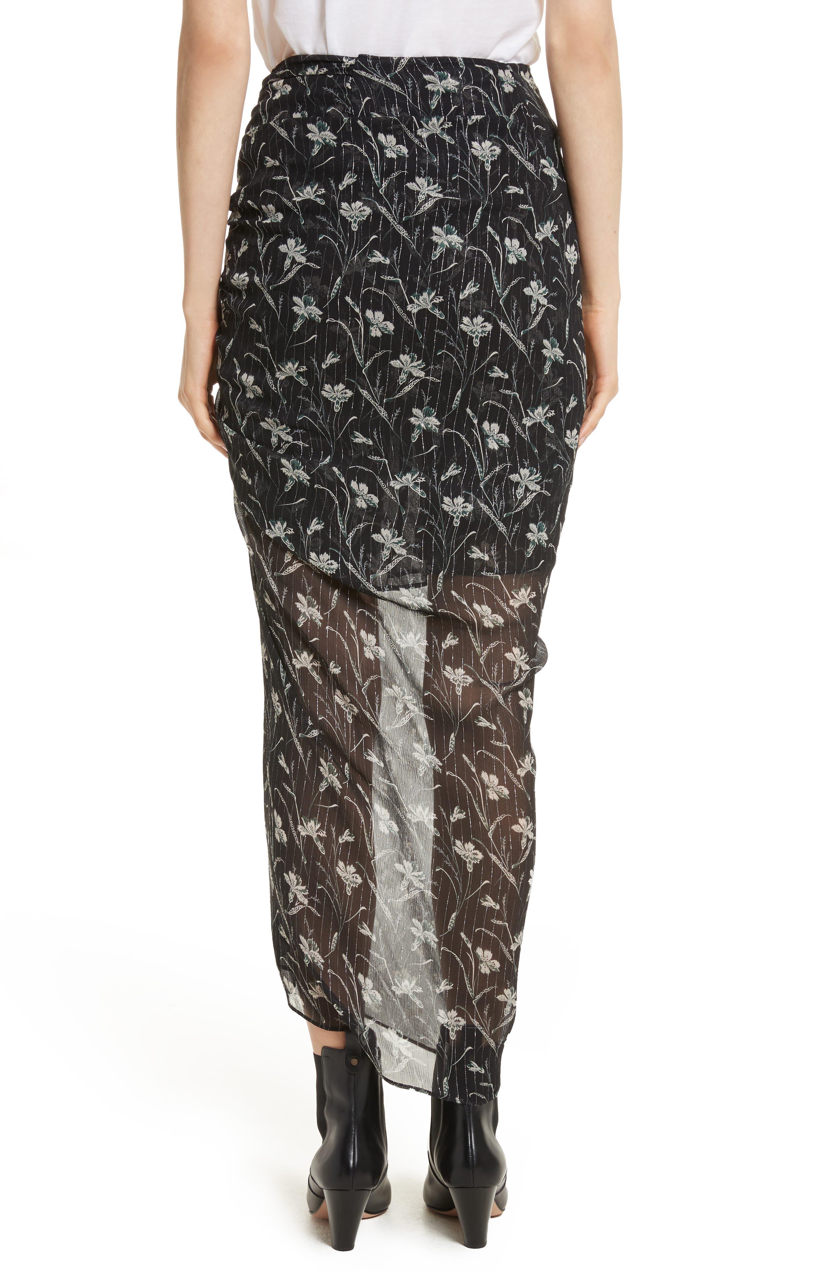 Mae Metallic Stripe Silk Midi Skirt,                             Alternate thumbnail 2, color,