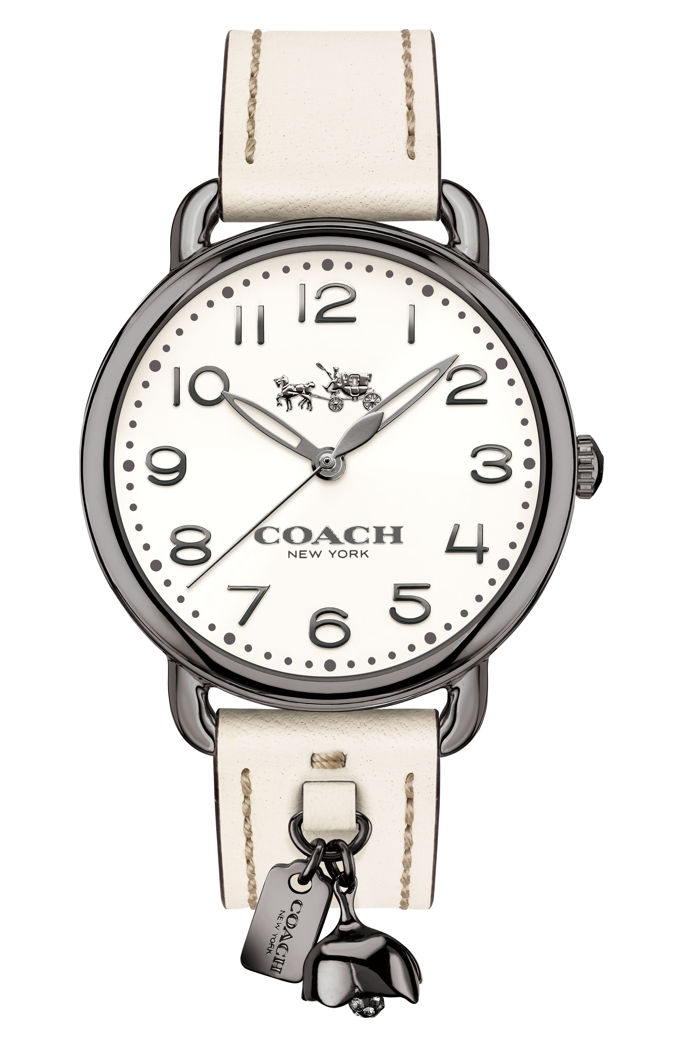 COACH Delancey Leather Strap Watch, 36mm, Main, color, 110